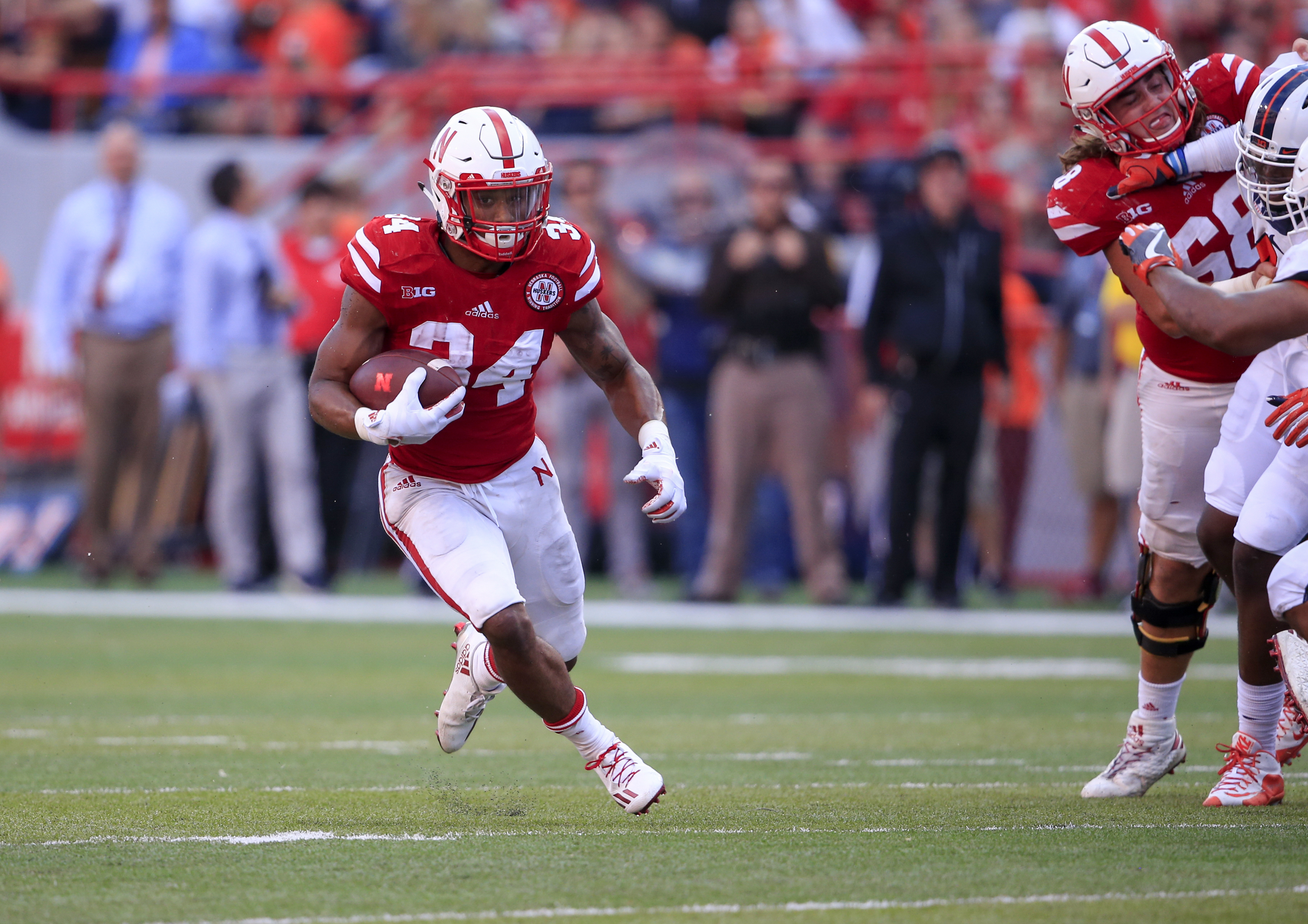 FILE- In this Oct. 1, 2016, file photo, Nebraska running back Terrell Newby (34) carries the ball during the second half of an NCAA college football game against Illinois in Lincoln, Neb. Newby had 22 carries for 102 yards and a touchdown in last week's w