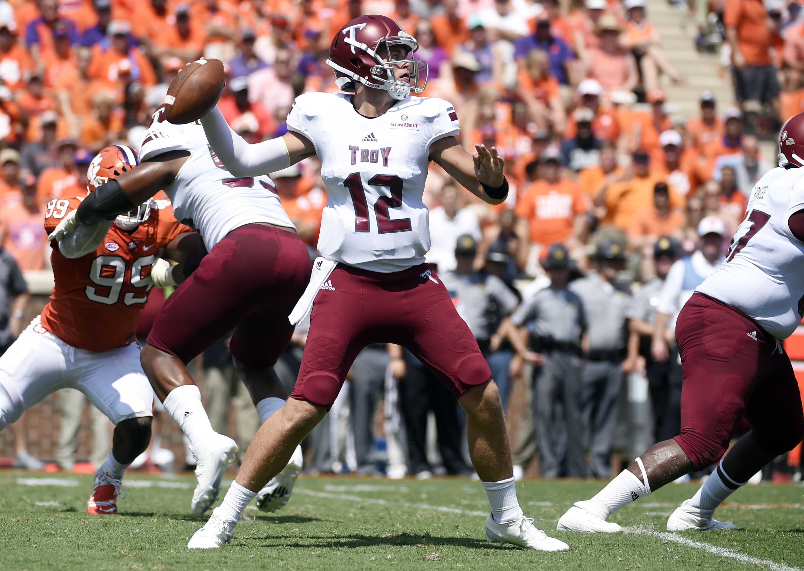 FILE - In this Sept. 10, 2016, file photo, Troy quarterback Brandon Silvers (12) looks to pass against Clemson during the first half of an NCAA college football game in Clemson, S.C. The Troy Trojans have staged a major comeback. A program that hasn't had