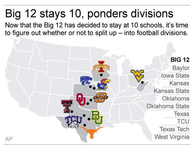 Map shows locations of Big 12 schools; 2c x 3 inches; 96.3 mm x 76 mm;