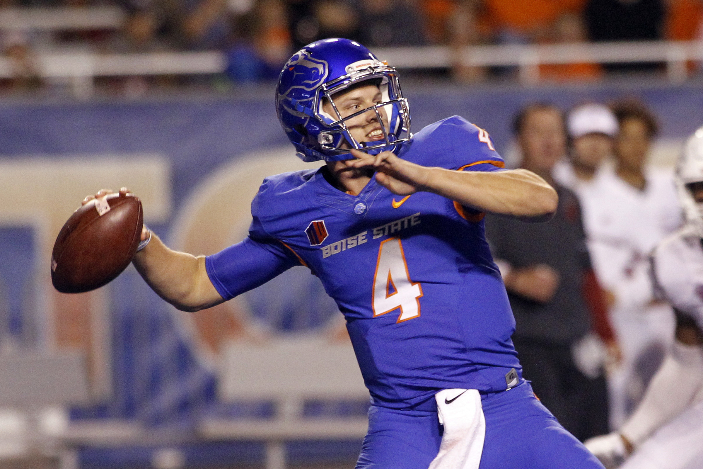 FILE - In this Sept. 10, 2016, file photo, Boise State quarterback Brett Rypien (4) passes during the first half of an NCAA college football game against Washington State in Boise, Idaho. No. 14 Boise State hosts BYU on Thursday, Oct. 20, 2016. (AP Photo/