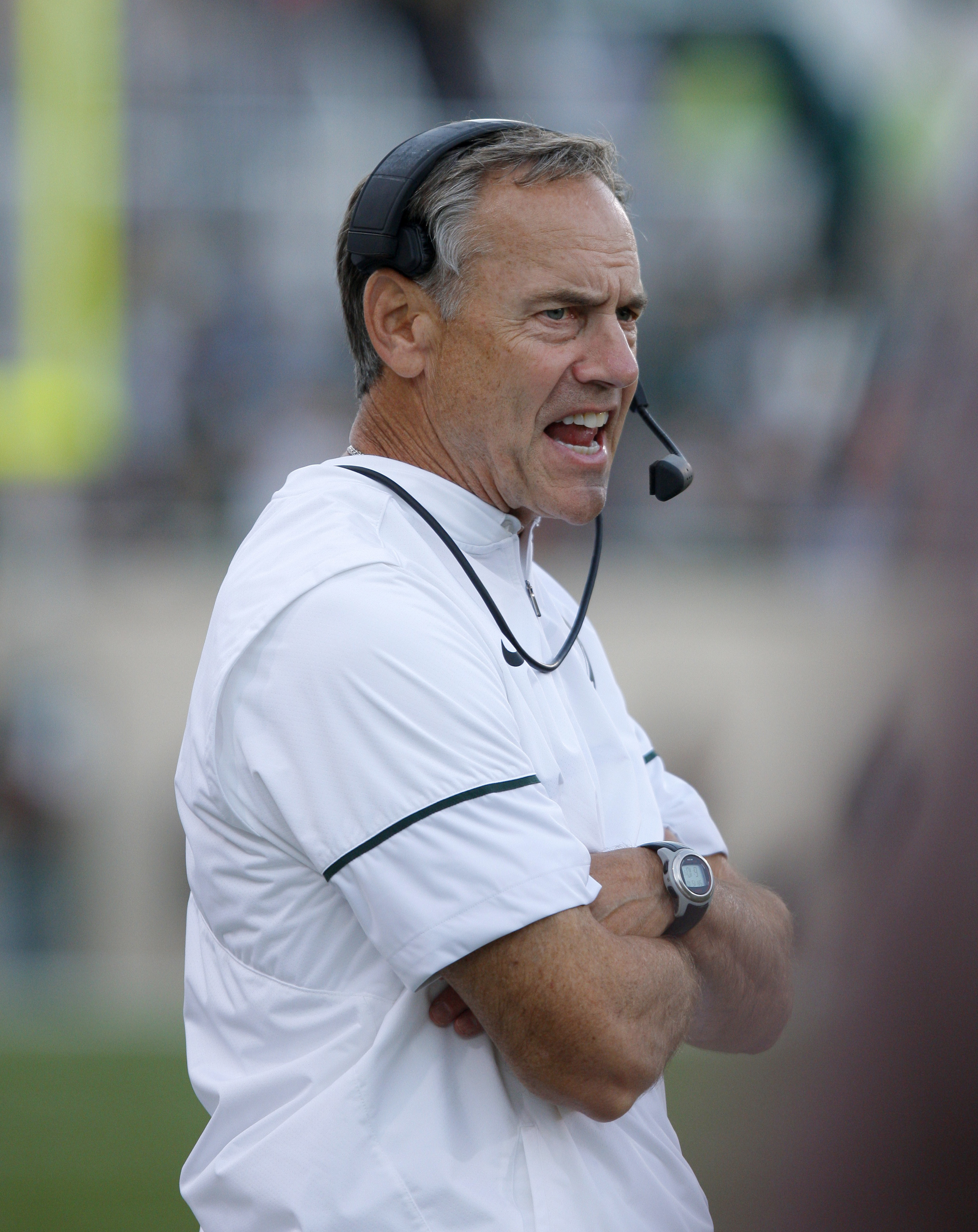 FILE - In this Oct. 15, 2016, file photo, Michigan State coach Mark Dantonio reacts to a Northwester kickoff return for a touchdown during the second half of an NCAA college football game in East Lansing, Mich. Michigan State is a mess. The Spartans cant