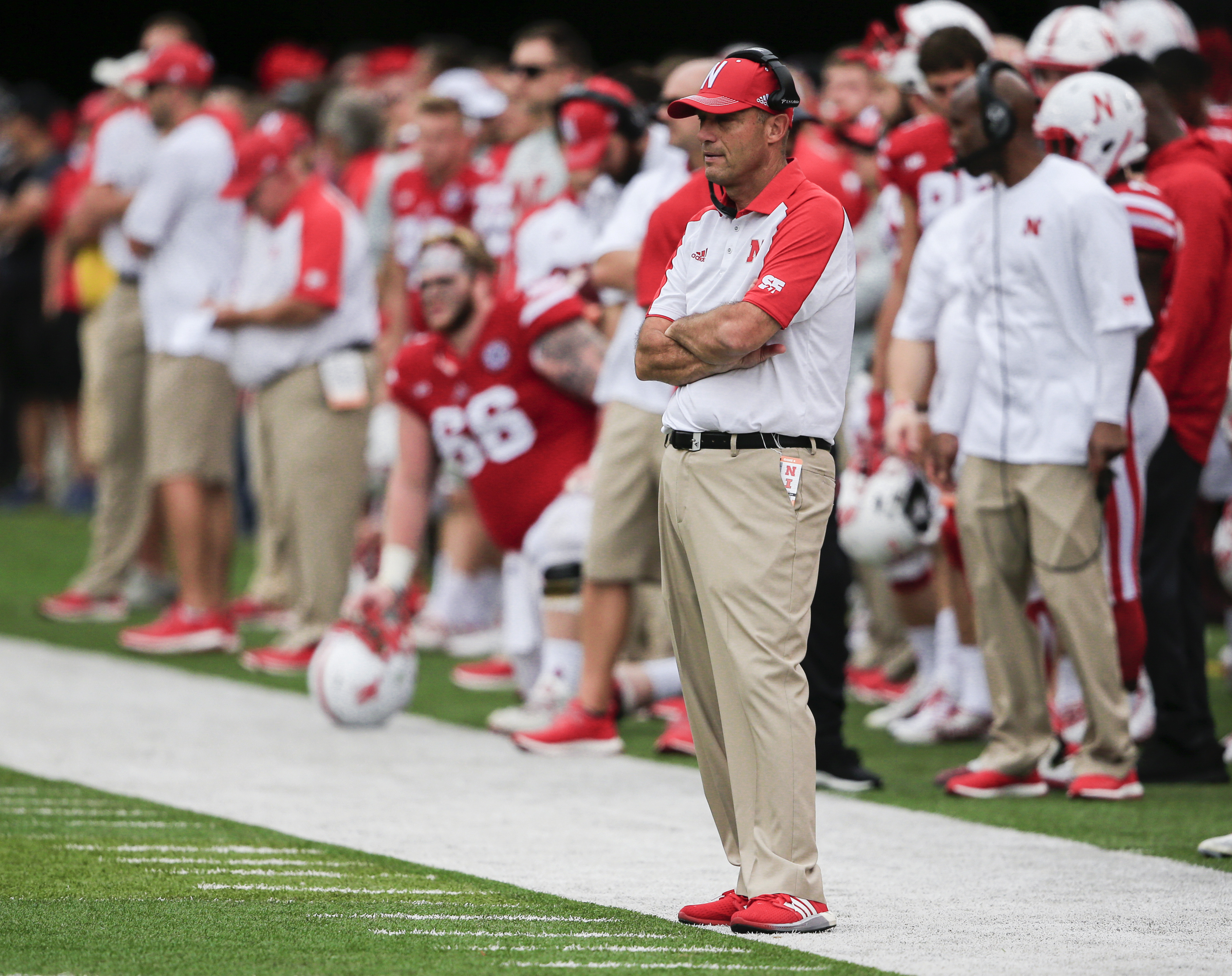 FILE - In this Oct. 1, 2016, file photo, Nebraska coach Mike Riley follows the first half of an NCAA college football game against Illinois in Lincoln, Neb. Nebraska hosts Purdue on Saturday, and Riley still hasn't forgotten last years 55-45 loss to the B