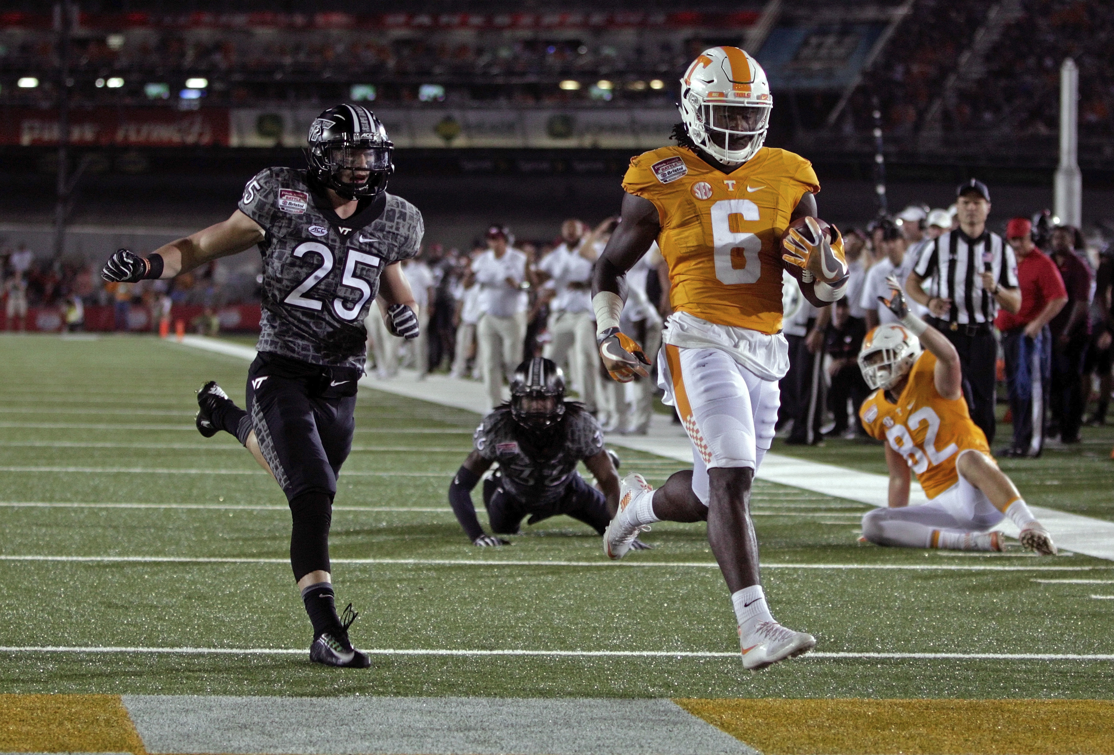 FILE - In this Sept. 10, 2016, file photo, Tennessee running back Alvin Kamara (6) scores a touchdown against Virginia Tech in an NCAA college football game at Bristol Motor Speedway, in Bristol, Tenn. Tennessee, ranked 18th, just announced that Kamara wo