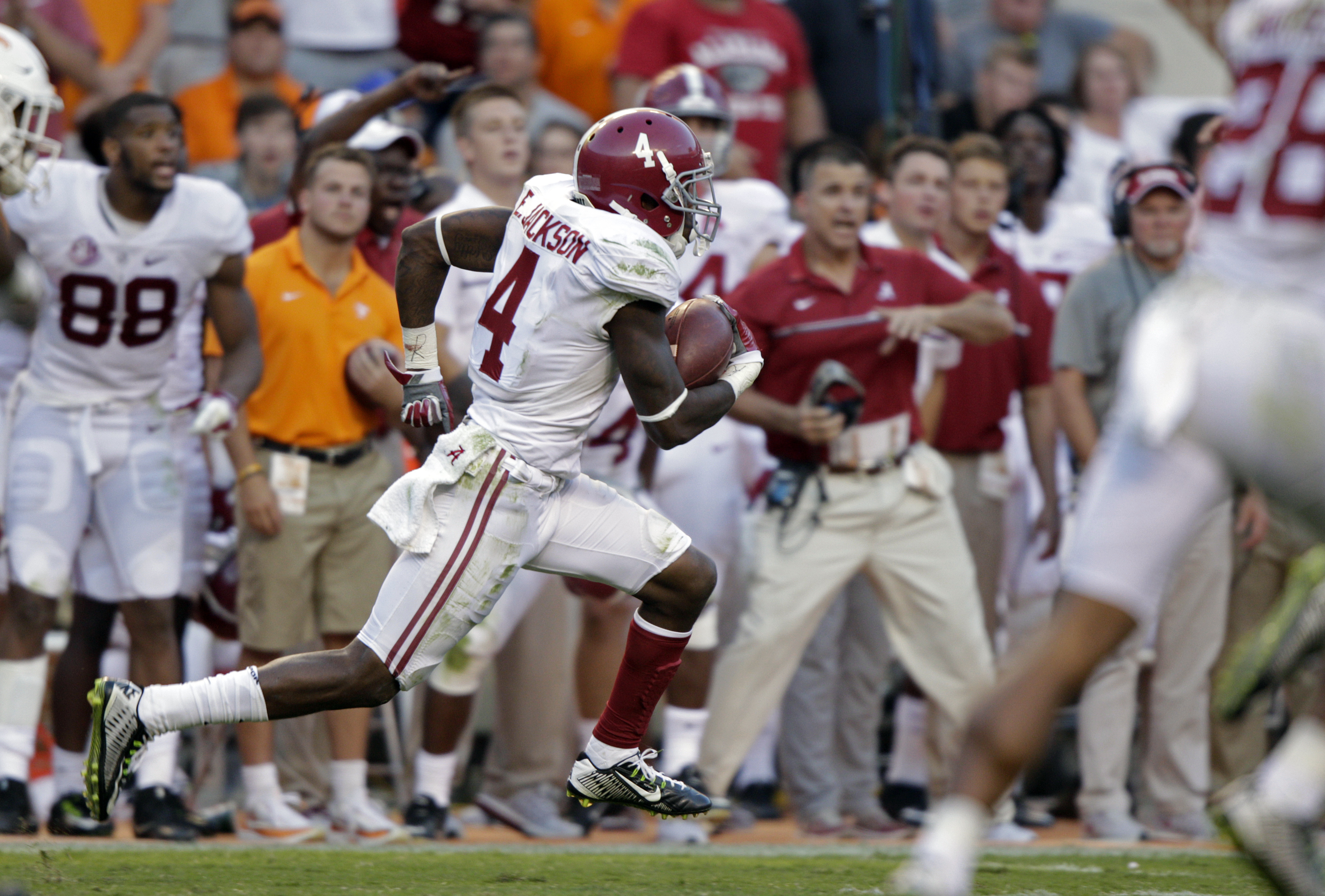 FILE - In this Saturday, Oct. 15, 2016, file photo, Alabama defensive back Eddie Jackson (4) returns a punt for a 79-yard touchdown during the second half of an NCAA college football game against Tennessee in Knoxville, Tenn. Theres not always a right-or-