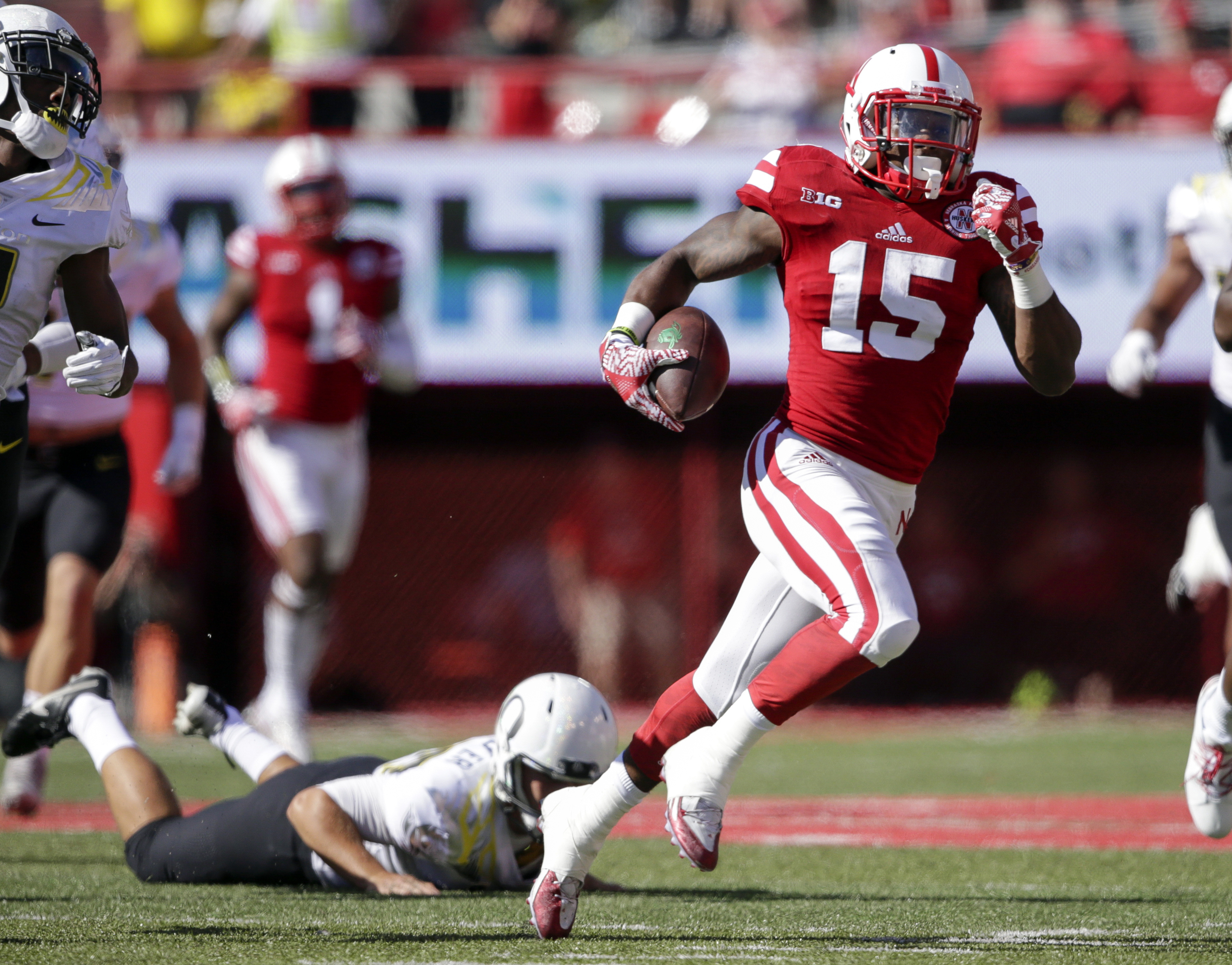 FILE - in this Sept. 17, 2016, file photo, Nebraska wide receiver De'Mornay Pierson-El (15) runs past a tackle attempt by Oregon defensive back Jaren Zadlo (38) during the first half of an NCAA college football game in Lincoln, Neb. Nebraska's dynamic ret