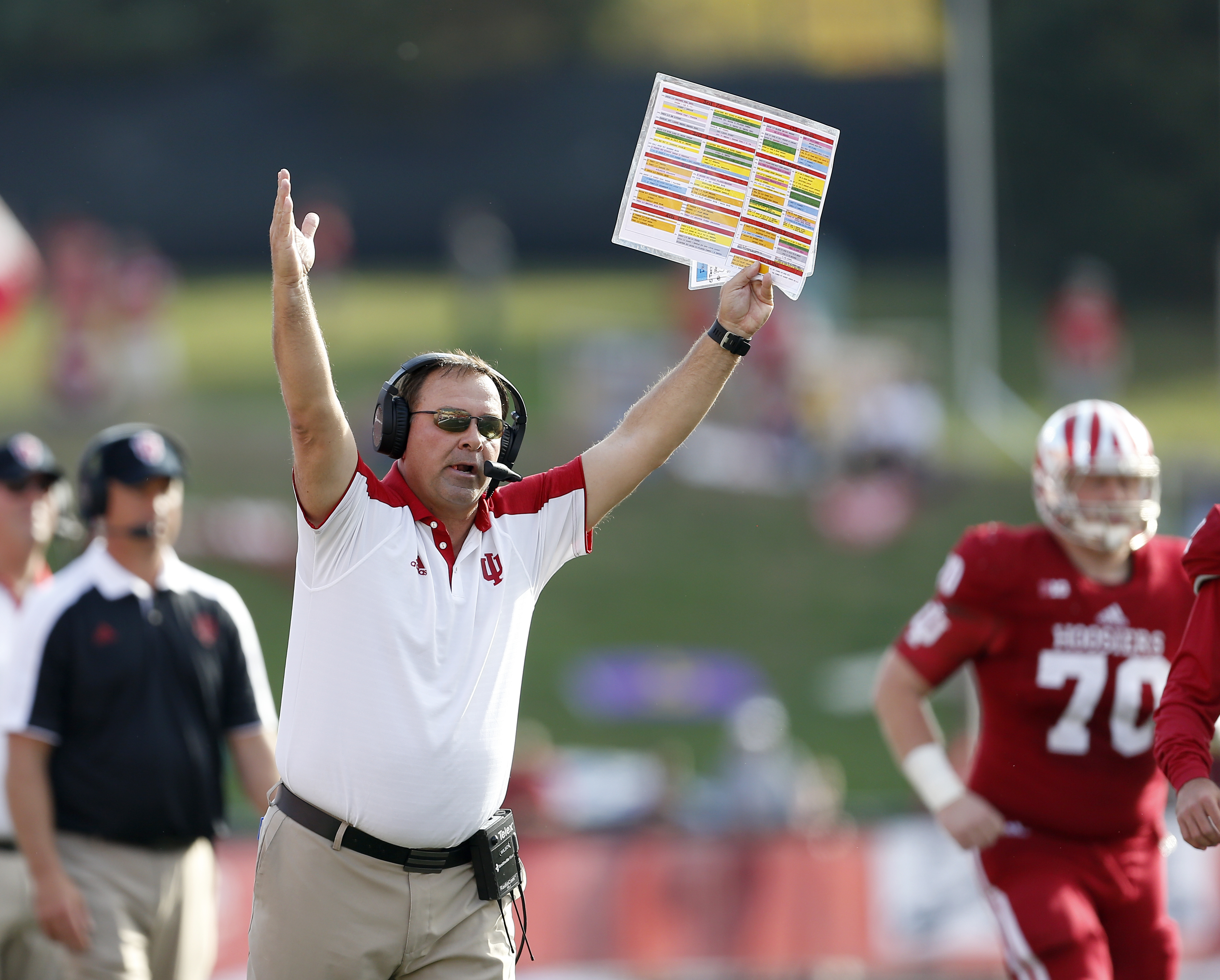 Indiana head coach Kevin Wilson signals a touchdown for Indiana against Maryland during the first half of an NCAA college football game in Bloomington, Ind., Saturday, Oct. 29, 2016. Indiana won the game 42-36. (AP Photo/Sam Riche)