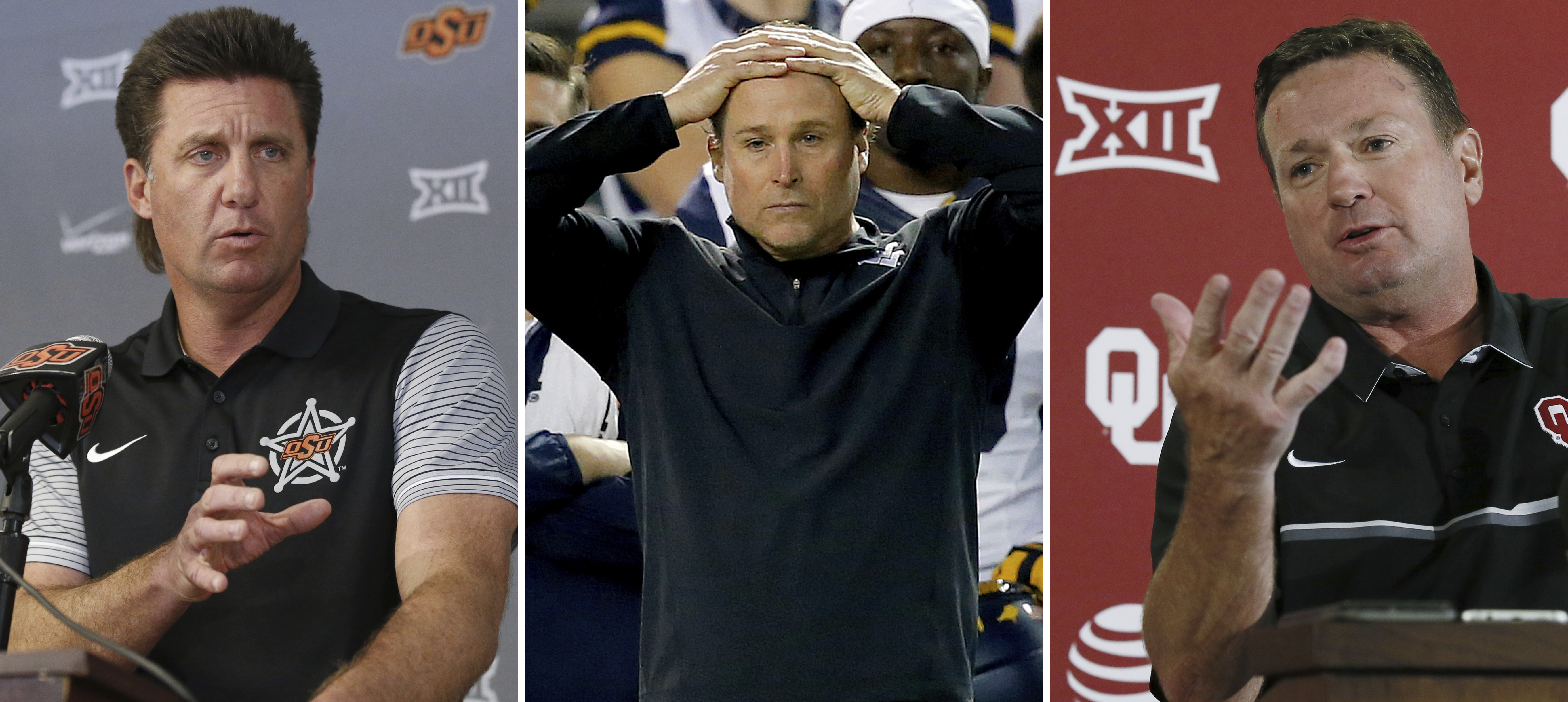 FILE - At left, in an Oct. 17, 2016, file photo, Oklahoma State head coach Mike Gundy speaks during an NCAA college football news conference in Stillwater, Okla. At center, in a Jan. 2, 2016, file photo, West Virginia coach Dana Holgorsen watches during t