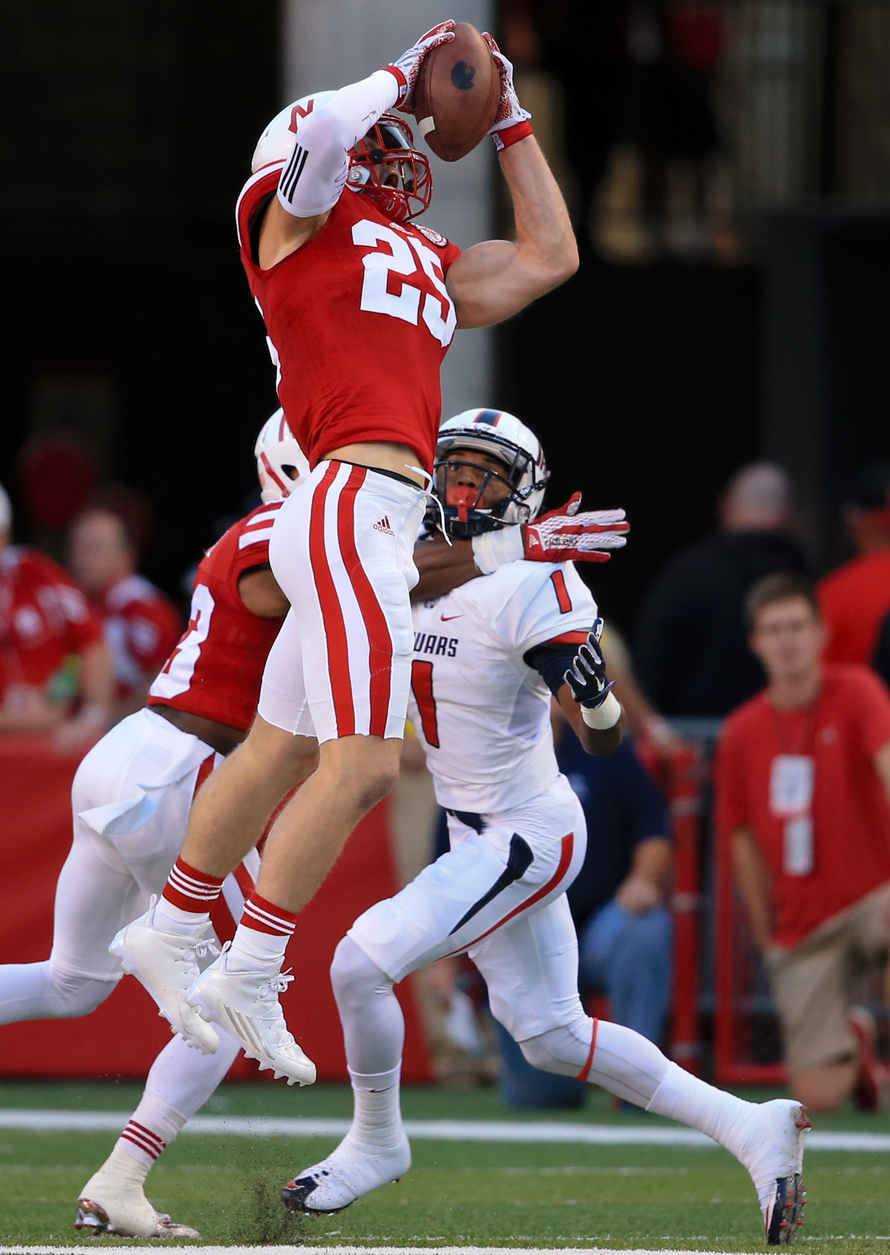 FILE- In this Sept. 12, 2015, file photo, Nebraska safety Nate Gerry (25) intercepts a pass intended for South Alabama wide receiver Josh Magee during the first half of an NCAA college football game in Lincoln, Neb. Gerry is contending for national postse