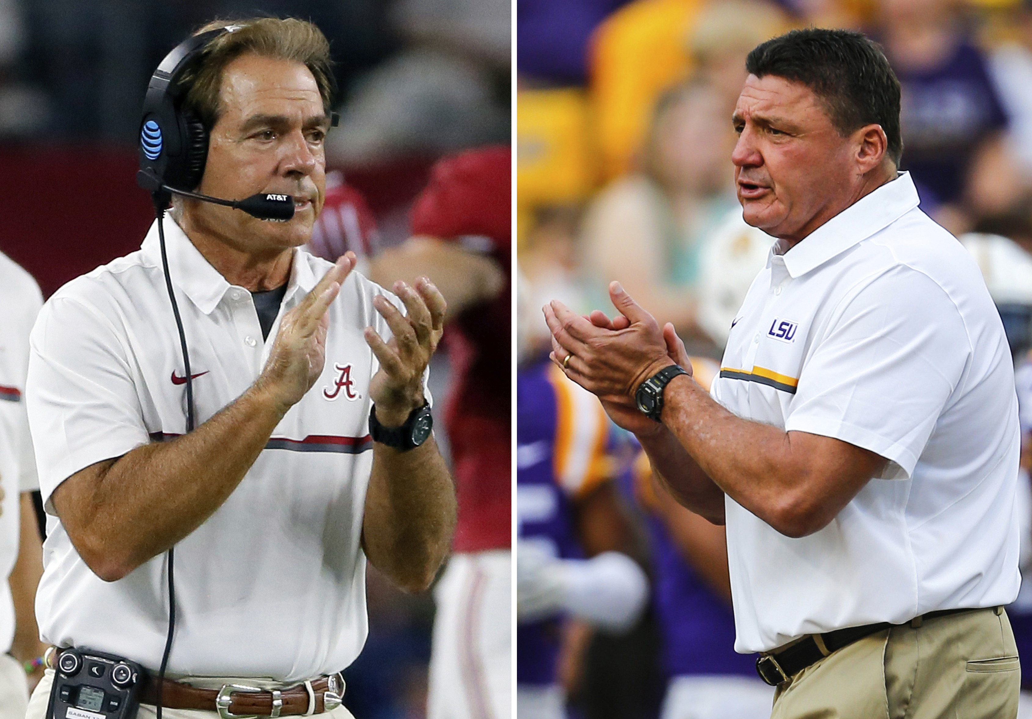 FILE - At left, in a Sept. 3, 2016, file photo, Alabama coach Nick Saban applauds on the sideline during the first half of an NCAA college football game against Southern California, in Arlington, Texas. At right, in an Oct. 15, 2016, file photo, LSU head