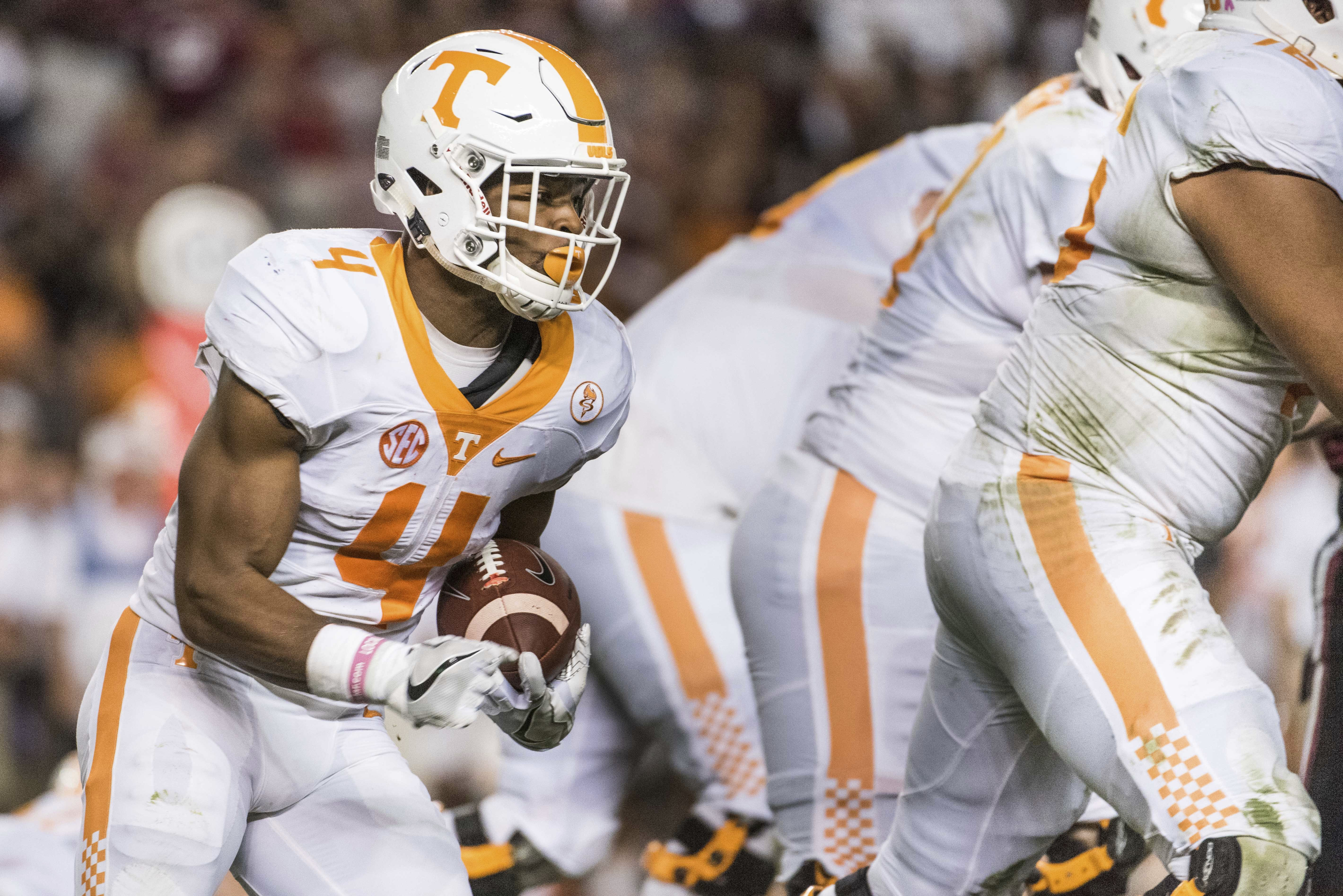 FILE -- In this Oct. 29, 2016, file photo, Tennessee running back John Kelly carries the ball against South Carolina during an NCAA college football game in Columbia, S.C. The surprising departure of Jalen Hurd and an injury to Alvin Kamara leave Tennesse