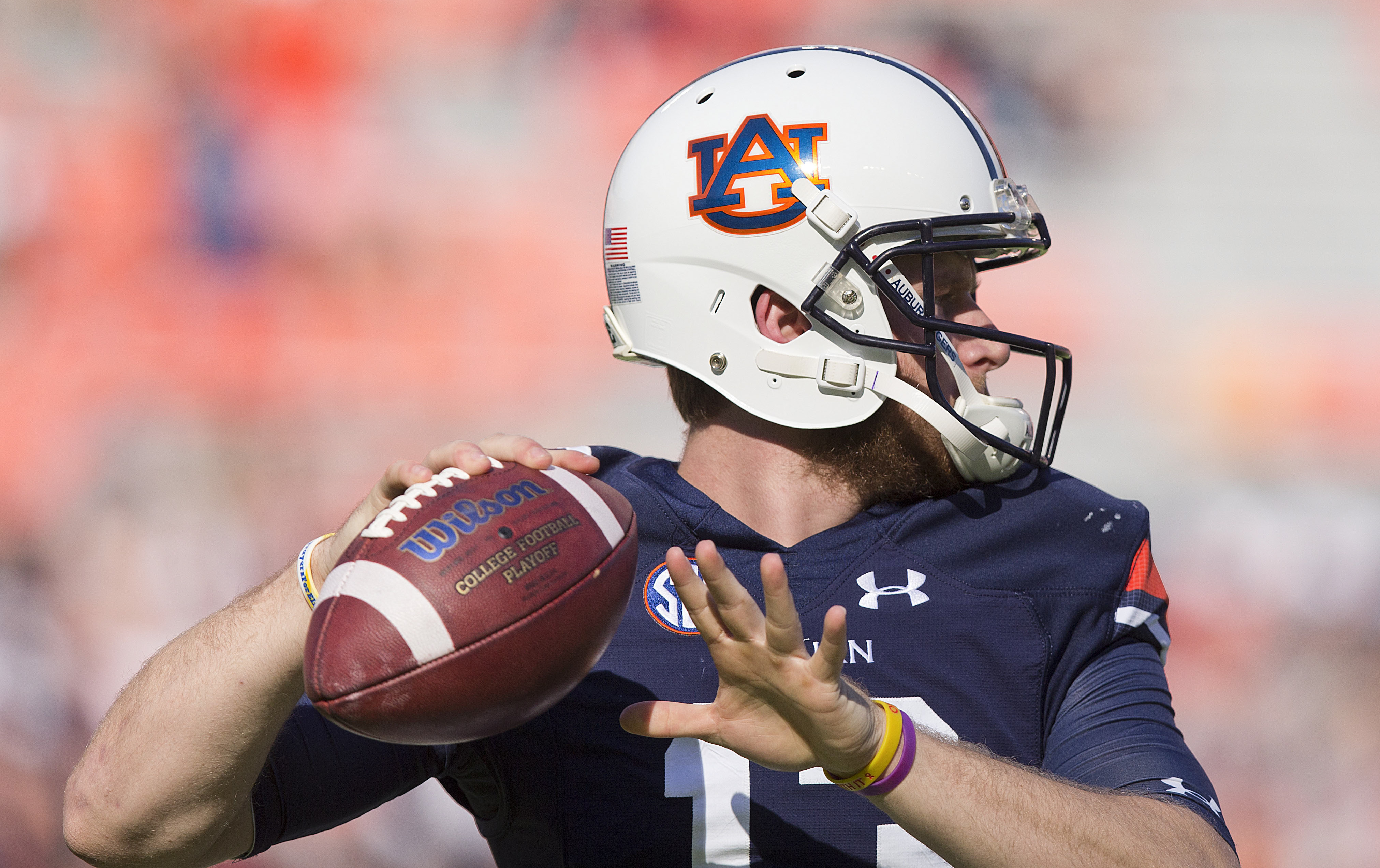 Auburn quarterback Sean White sets back pass the ball during practice before the first half of an NCAA college football game against Vanderbilt,  Saturday, Nov. 5, 2016, in Auburn, Ala. (AP Photo/Brynn Anderson)