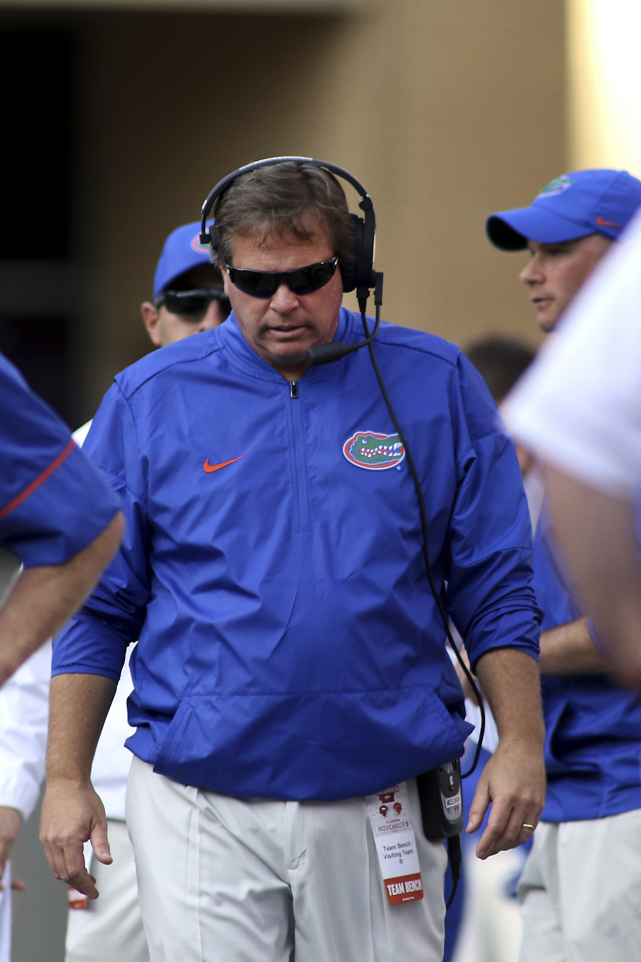 Florida's Jim McElwain paces the sideline during the second half of an NCAA college football game against Arkansas Saturday, Nov. 5, 2016 in Fayetteville, Ark. Arkansas beat Florida 31-10. (AP Photo/Samantha Baker)