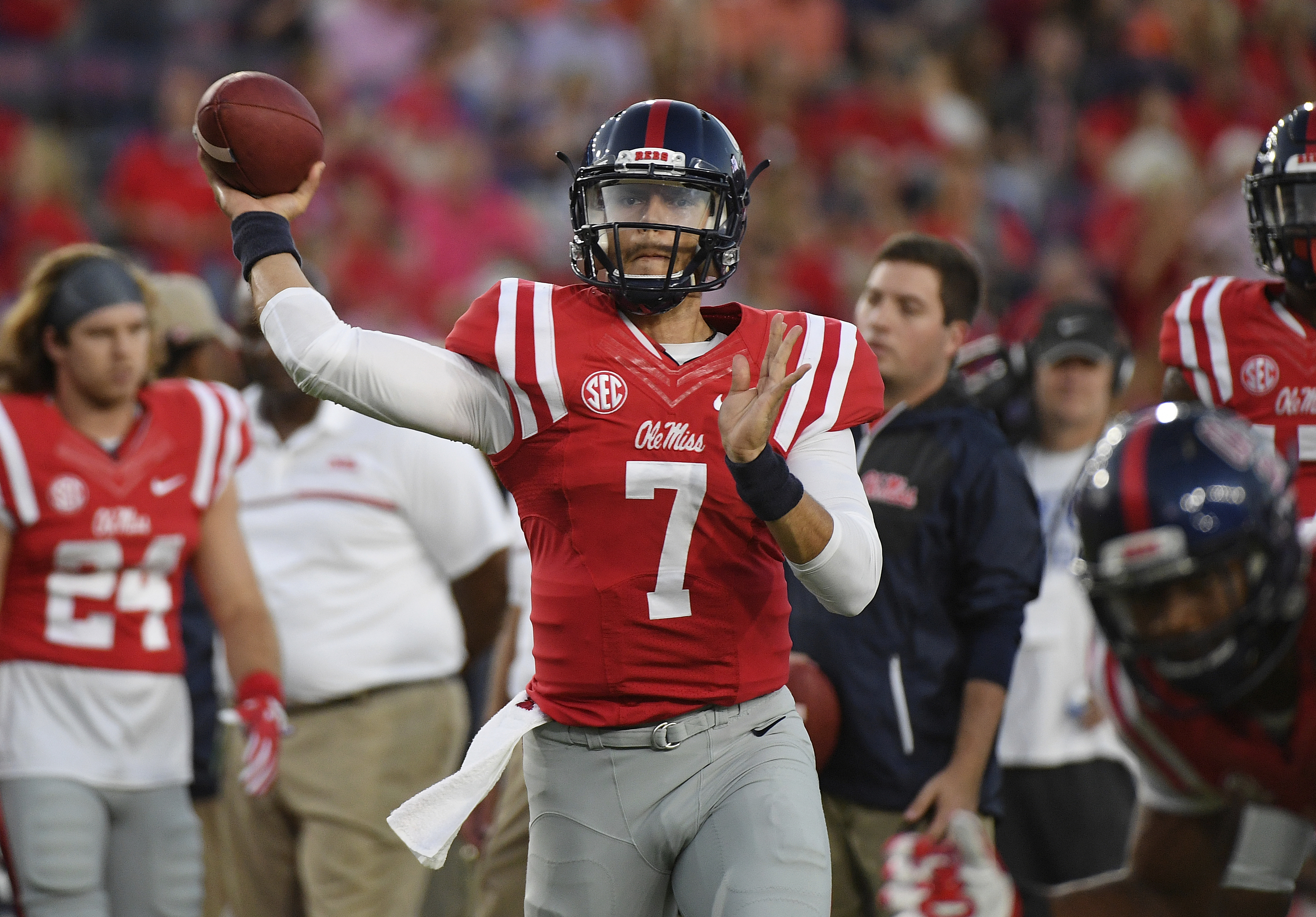 FILE - In this Oct. 29, 2016, file photo, Mississippi quarterback Jason Pellerin (7) releases a pass during warmups before an NCAA college football game against Auburn,  in Oxford, Miss. Ole Miss star quarterback Chad Kelly is out for the season with torn