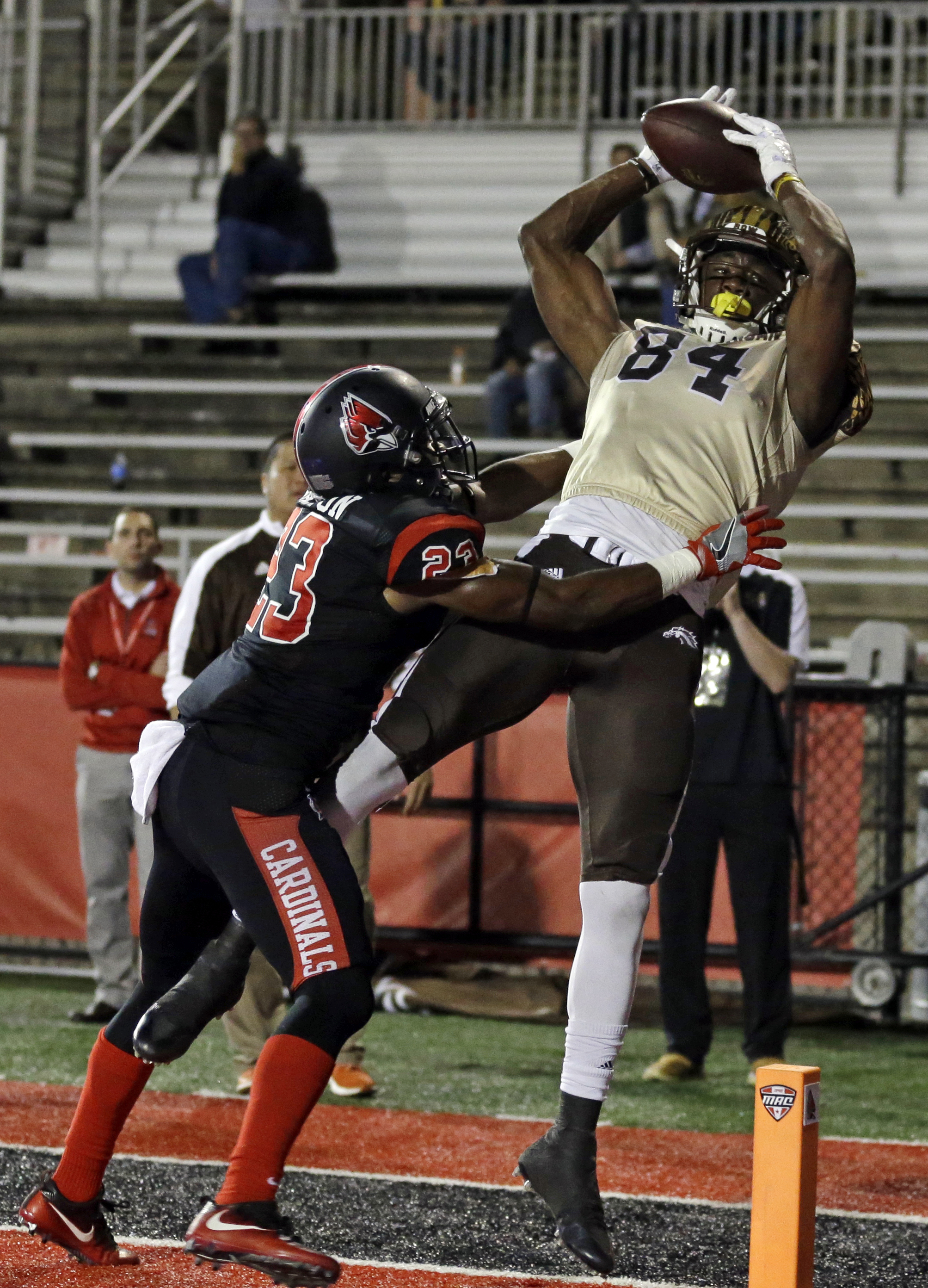 FILE - In this Nov. 1, 2016, file photo, Western Michigan wide receiver Corey Davis (84) attempts a catch over Ball State cornerback Marc Walton (23) in the end zone during the second half of an NCAA college football game in Muncie, Ind. Davis was ruled o
