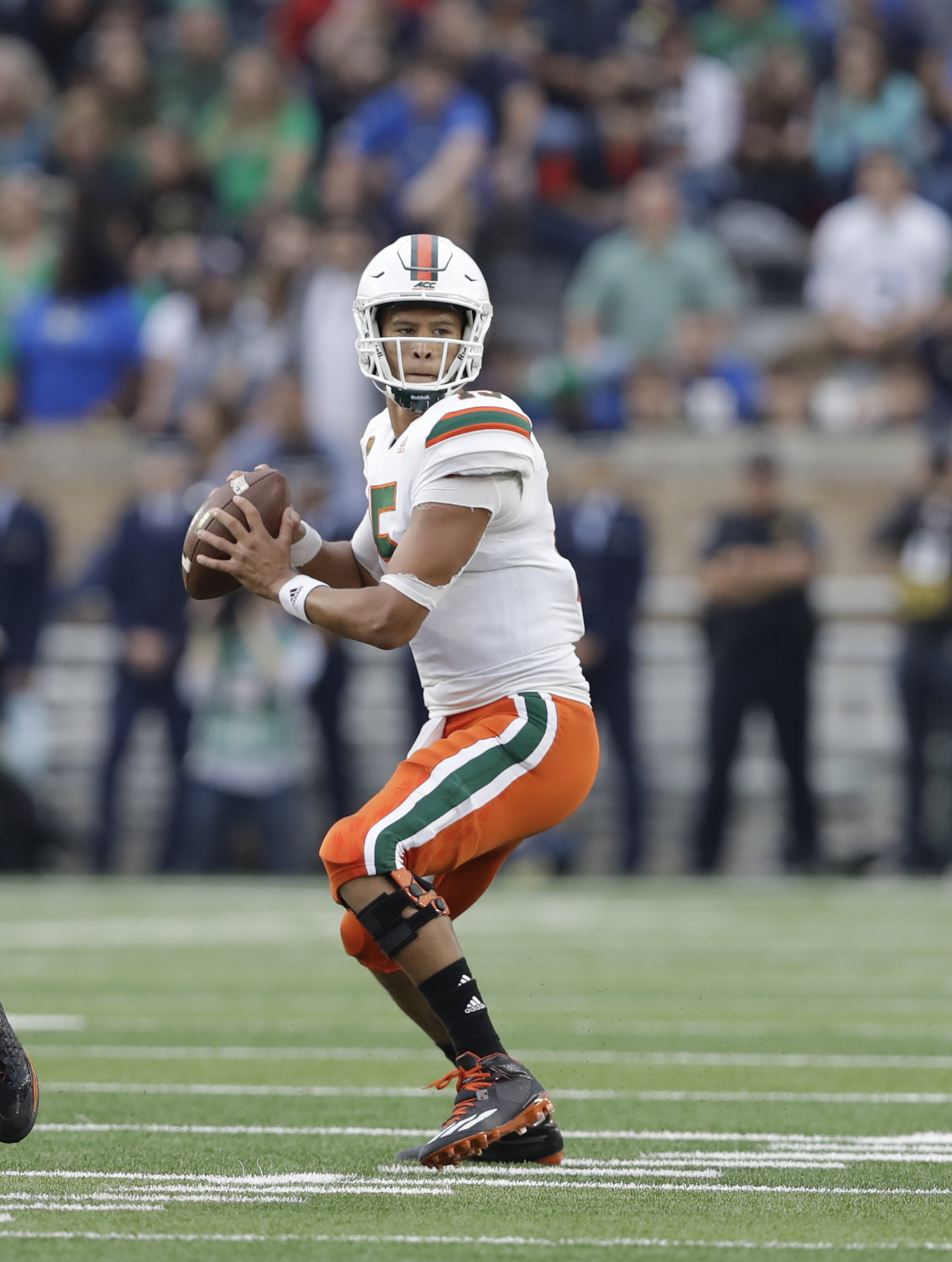 FILE - This Oct. 29, 2016 file photo shows Miami quarterback Brad Kaaya looking to throw during the second half of an NCAA college football game against Notre Dame in South Bend, Ind. Kaaya, coming off one of his best games _ a four-TD-passing, one-TD-rus