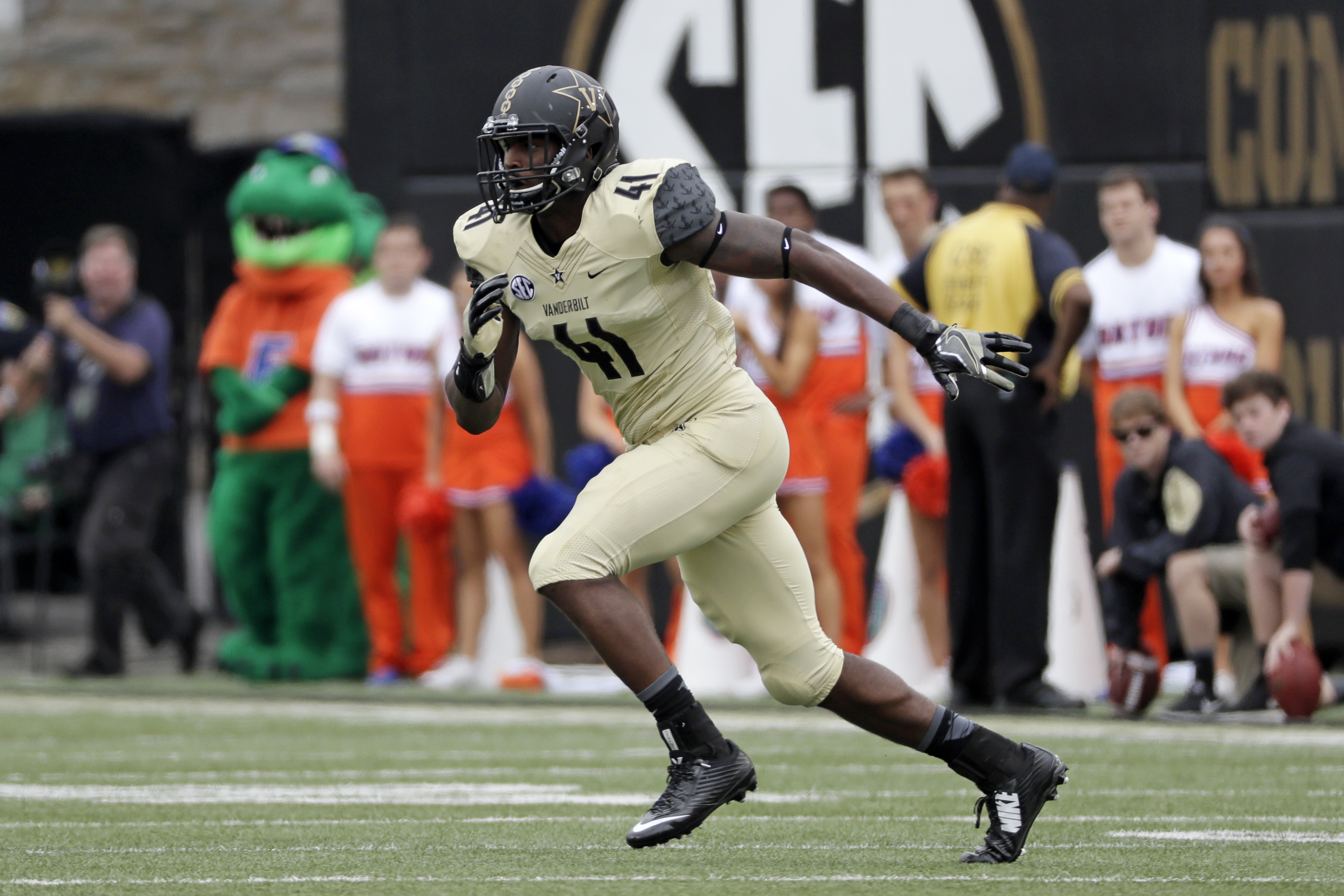 FILE --In this Oct. 1, 2016, file photo, Vanderbilt linebacker Zach Cunningham plays against Florida in an NCAA college football game in Nashville, Tenn. Cunningham is making his case for Southeastern Conference defensive player of the year with one remar