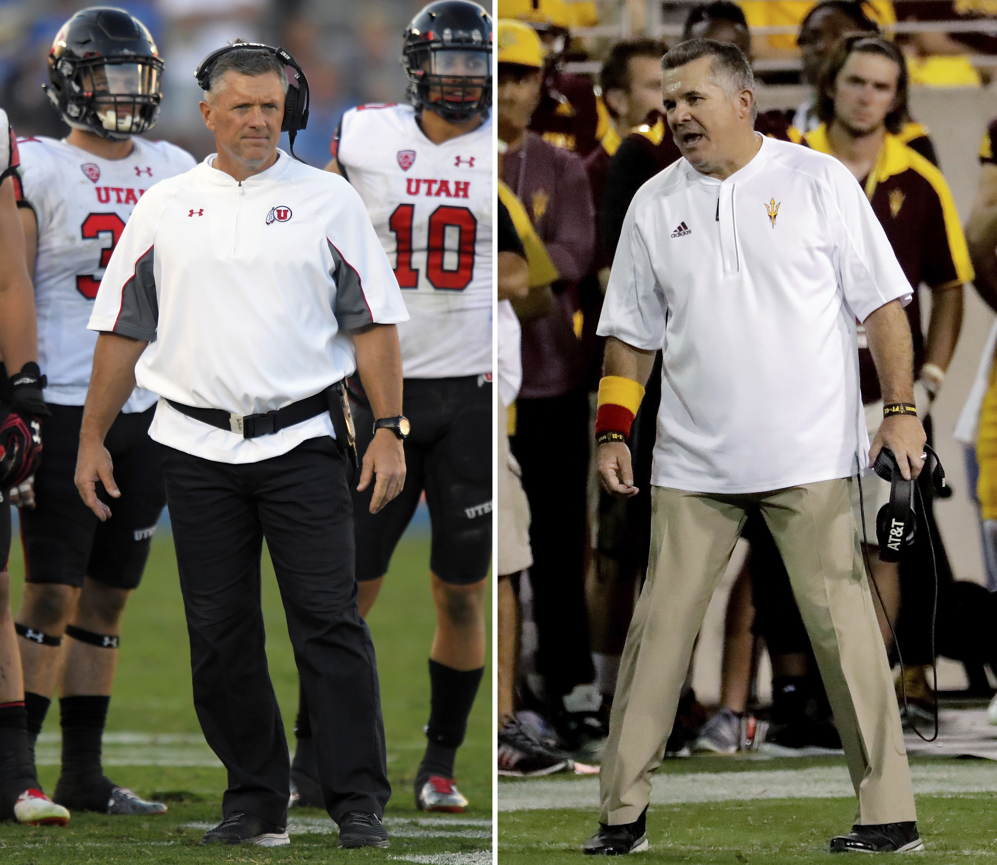 FILE - At left, in an Oct. 22, 2016, file photo, Utah head coach Kyle Whittingham watches from the sideline during the second half of an NCAA college football game against UCLA, in Pasadena, Calif. At right, also in an Oct. 22, 2016, file photo, Arizona S