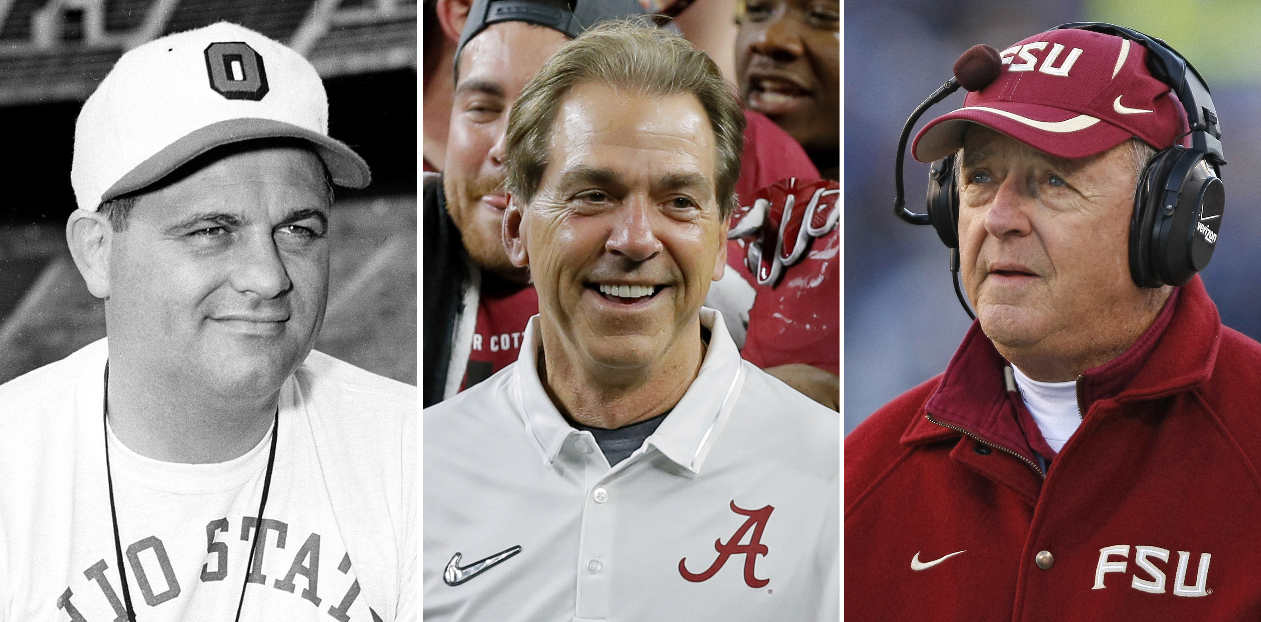 FILE - From left are file photos showing Ohio State football coach Woody Hayes, in 1951, Alabama coach Nick Saban, in 2015, and Florida State coach Bobby Bowden, in 2007. Nick Saban is on the verge of another milestone victory, another number that gives a