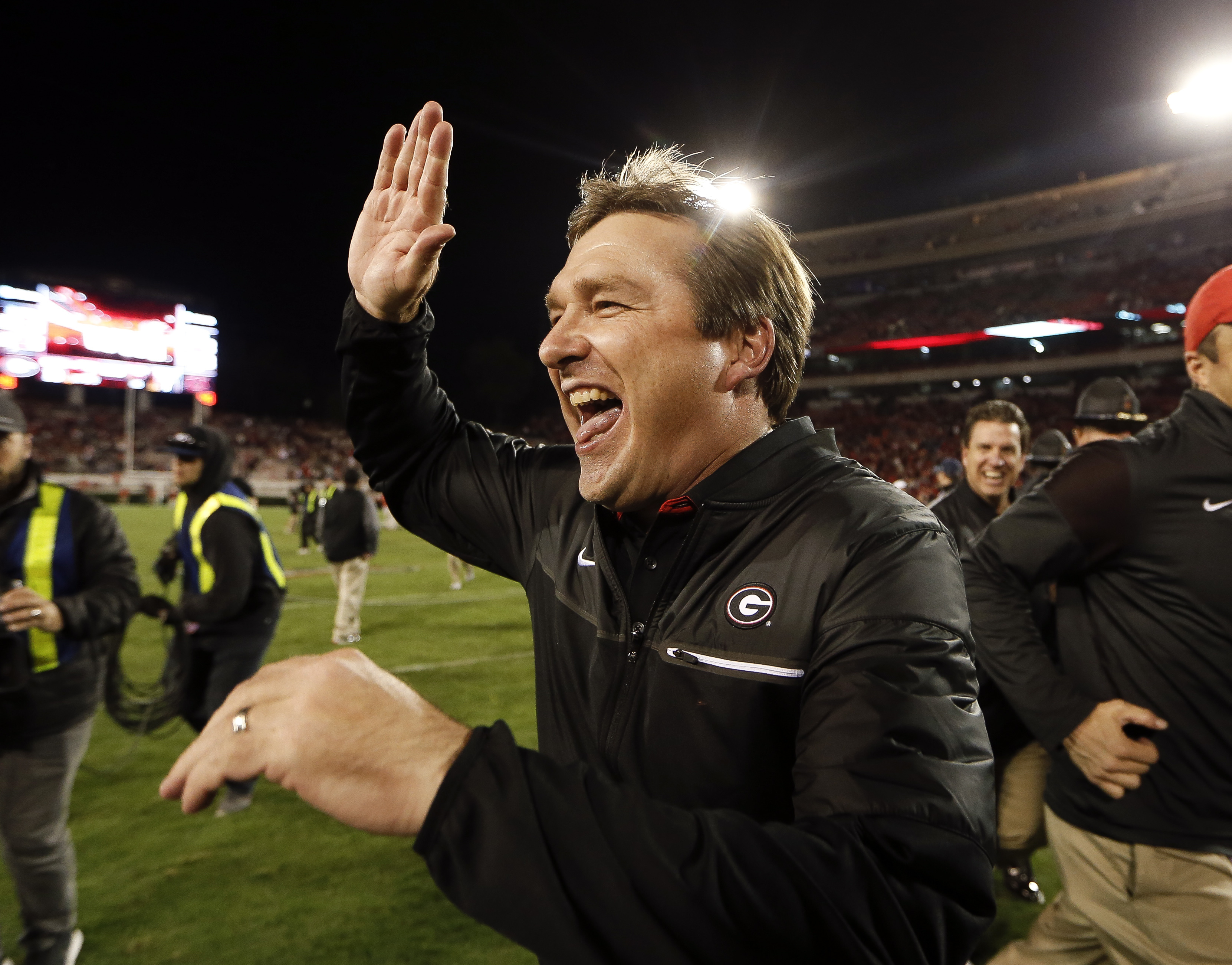 Georgia head coach Kirby Smart reacts as he leaves the field after defeating Auburn 13-7 in an NCAA college football game Saturday, Nov. 12, 2016, in Athens, Ga. (AP Photo/John Bazemore)
