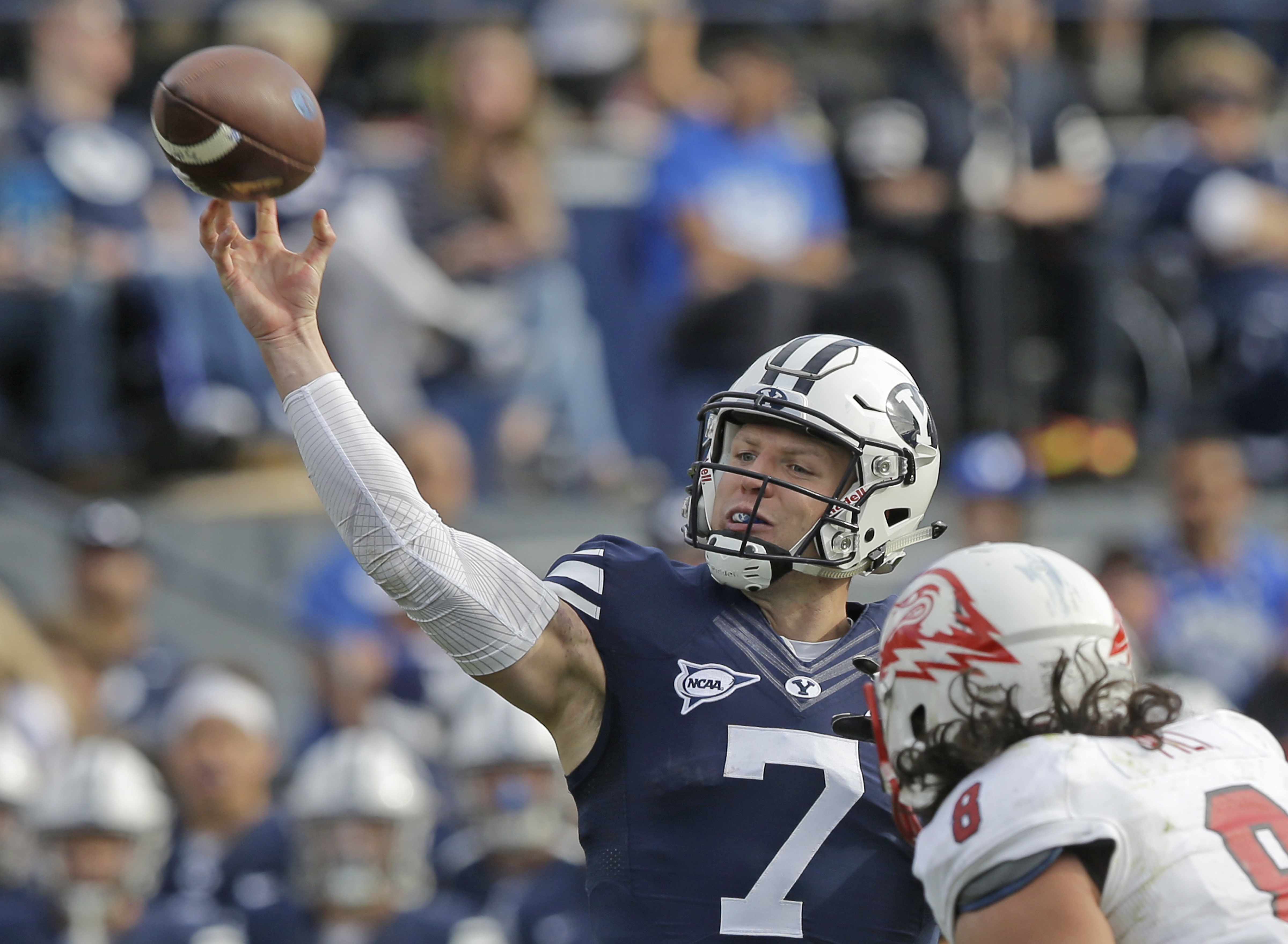 BYU quarterback Taysom Hill (7) passes the ball in the first half during an NCAA college football game against Southern Utah, Saturday, Nov. 12, 2016, in Provo, Utah. (AP Photo/Rick Bowmer)