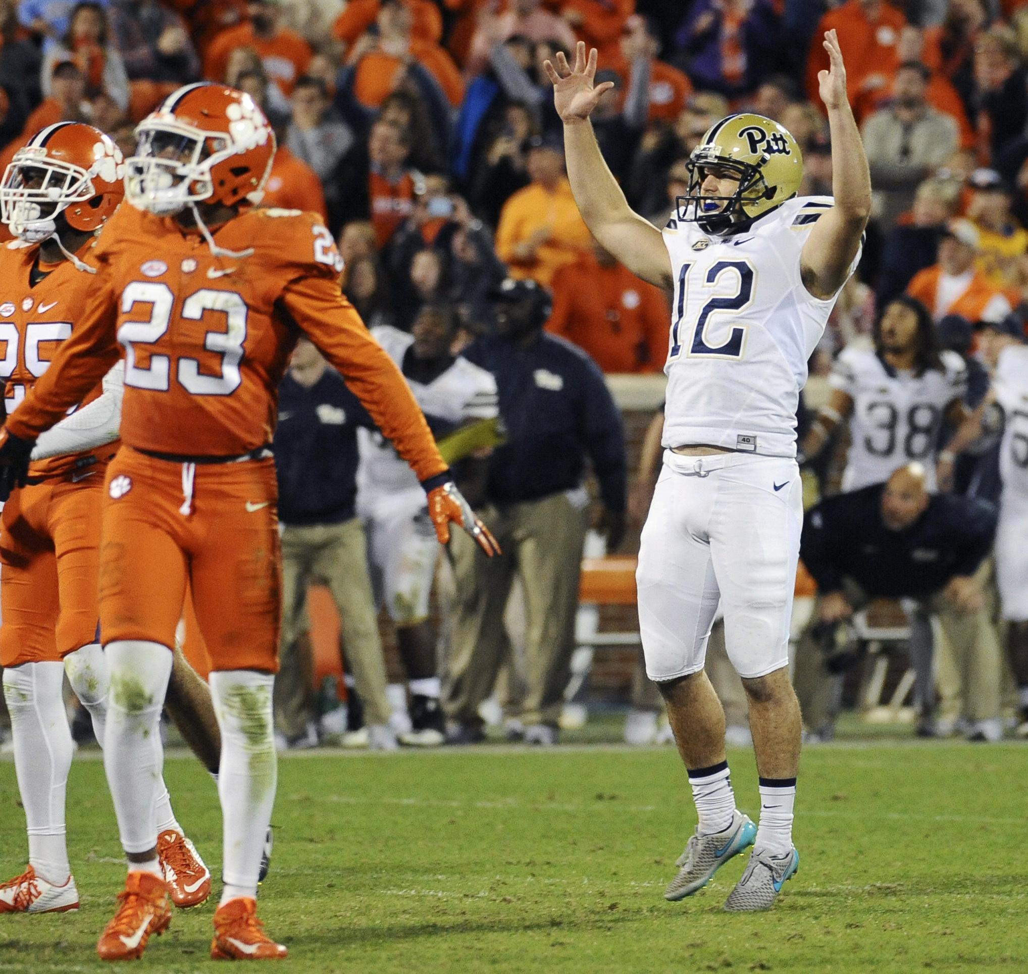 Pittsburgh place kicker Chris Blewitt (12) celebrates after kicking the game-winning field goal in an NCAA college football game against Clemson on Saturday, Nov. 12, 2016, in Clemson, S.C. Pittsburgh won 43-42. (AP Photo/Rainier Ehrhardt)