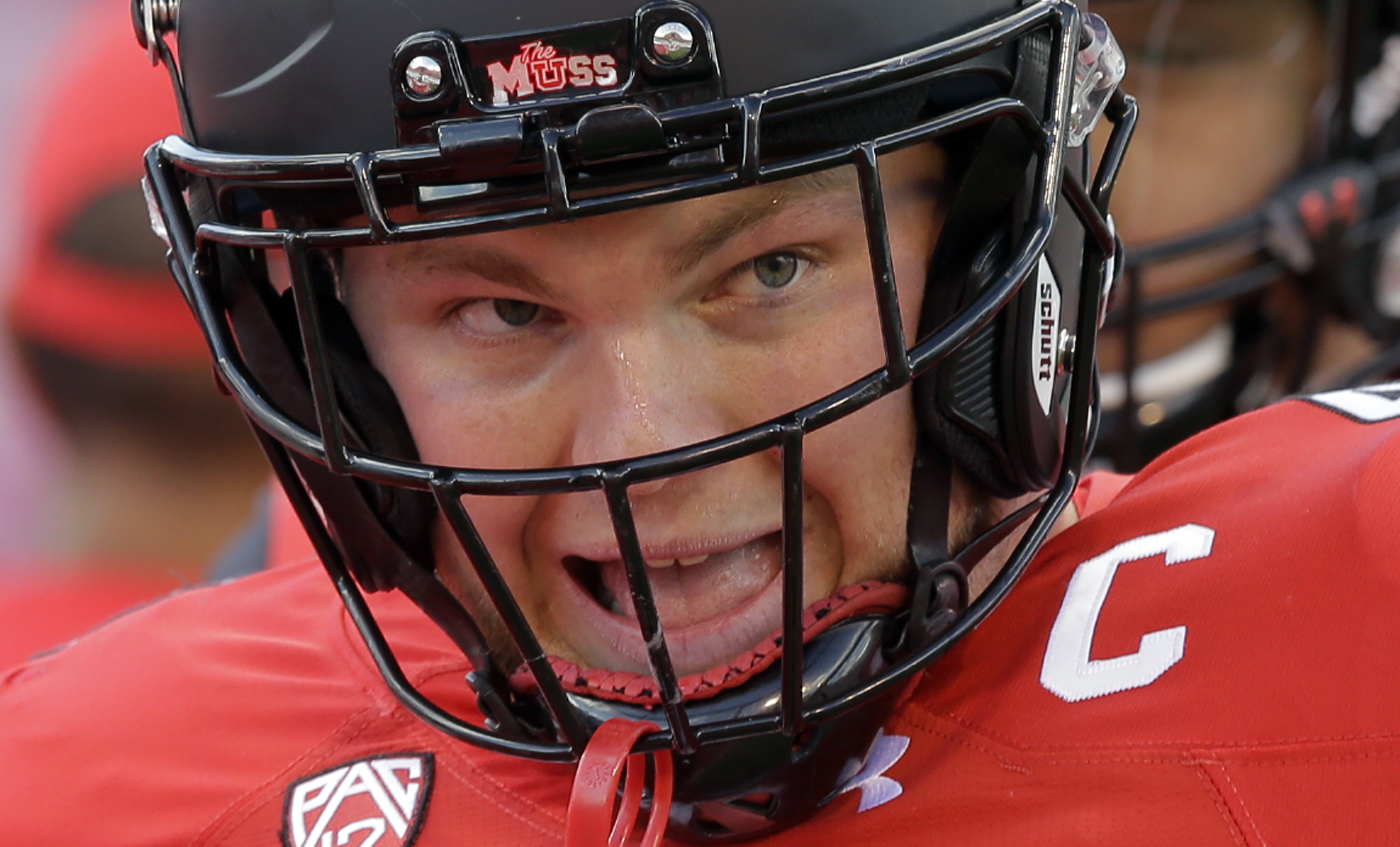 FILE - This Oct. 29, 2016, file photo, Utah defensive end Hunter Dimick takes the field before the first half during an NCAA college football game against Washington, in Salt Lake City. Dimick shined as a redshirt sophomore in 2014 with 10 sacks and 14.5