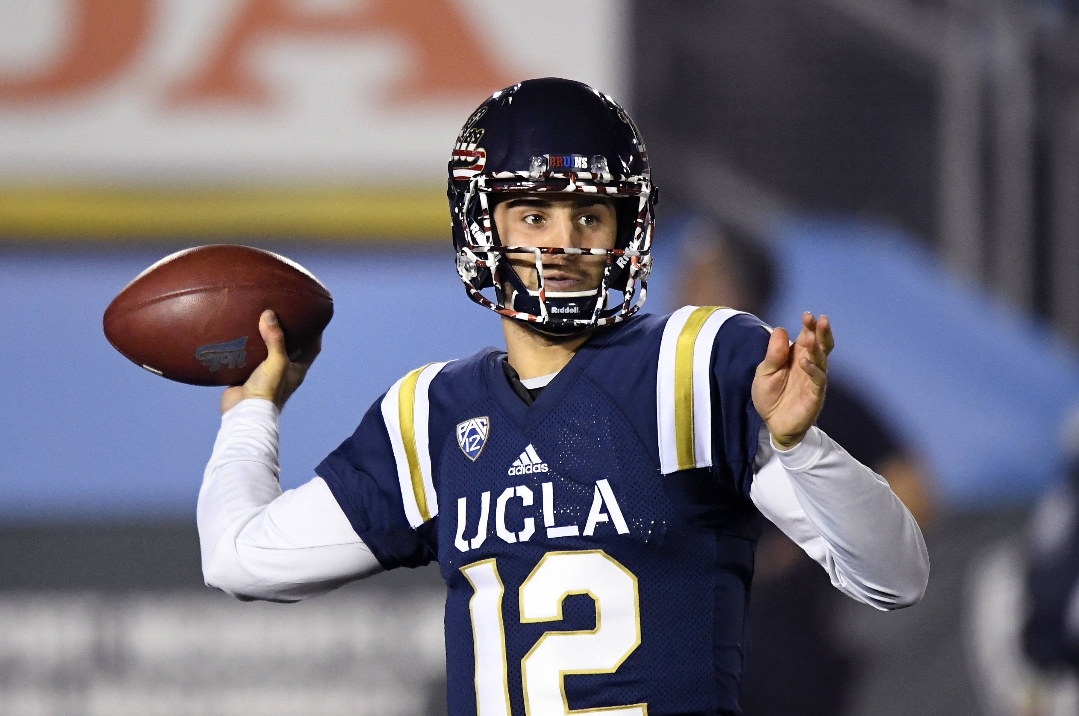 FILE - In this Saturday, Nov. 12, 2016 file photo, UCLA quarterback Mike Fafaul passes during the first half of an NCAA college football game against Oregon State in Pasadena, Calif. Every team has one of them: A player who hasn't gotten much attention fr