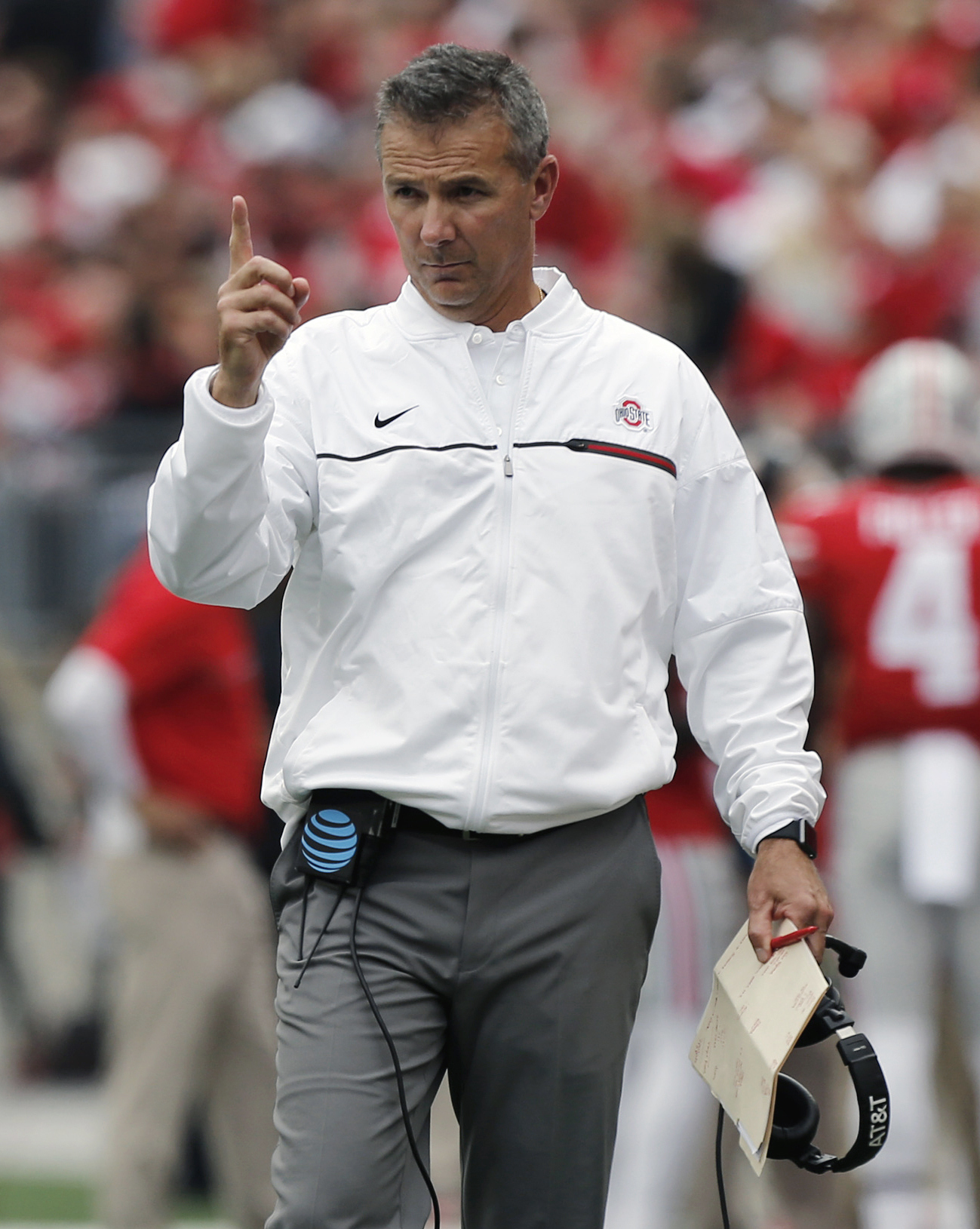 FILE - In this Oct. 1, 2016, file photo, Ohio State head coach Urban Meyer instructs his team during an NCAA college football game against Rutgers, in Columbus, Ohio.  The stretch run of the regular season makes it tempting for playoff contenders to run u