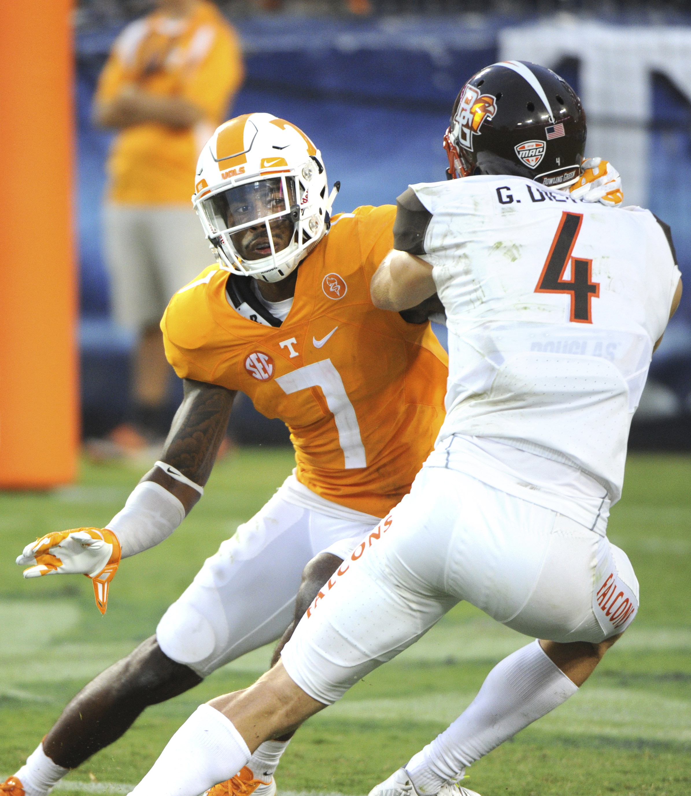 FILE - In this Sept. 5, 2015, file photo, Tennessee defensive back Cameron Sutton, left, covers Bowling Green wide receiver Gehrig Dieter during an NCAA college football game in Nashville, Tenn. After beginning their college careers by experiencing losing