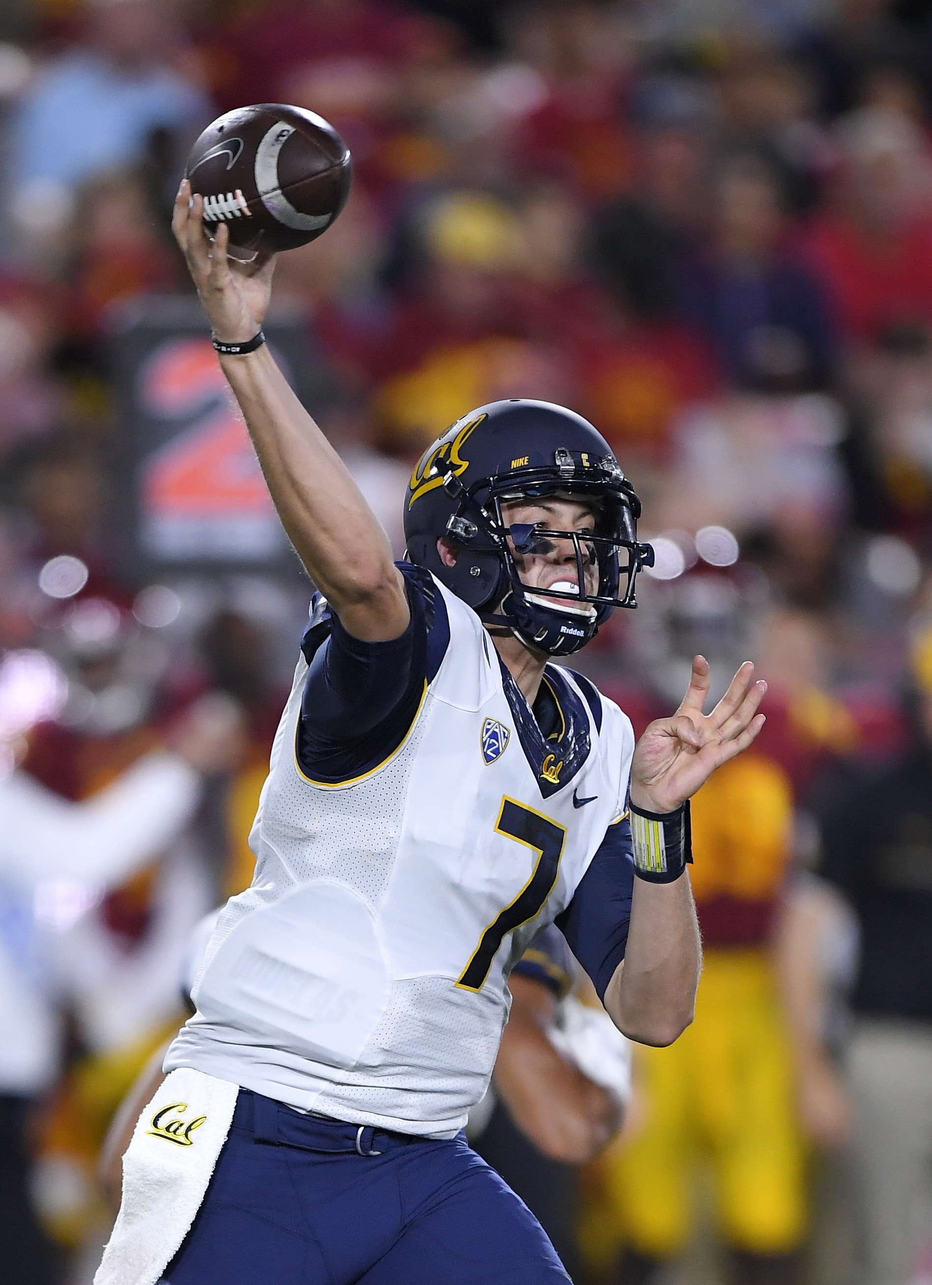 FILE - In this Oct. 27, 2016, file photo,California quarterback Davis Webb passes during the first half of an NCAA college football game against Southern California, in Los Angeles. Growing up in Texas, Davis Webb knew all about the Big Game rivalry betwe
