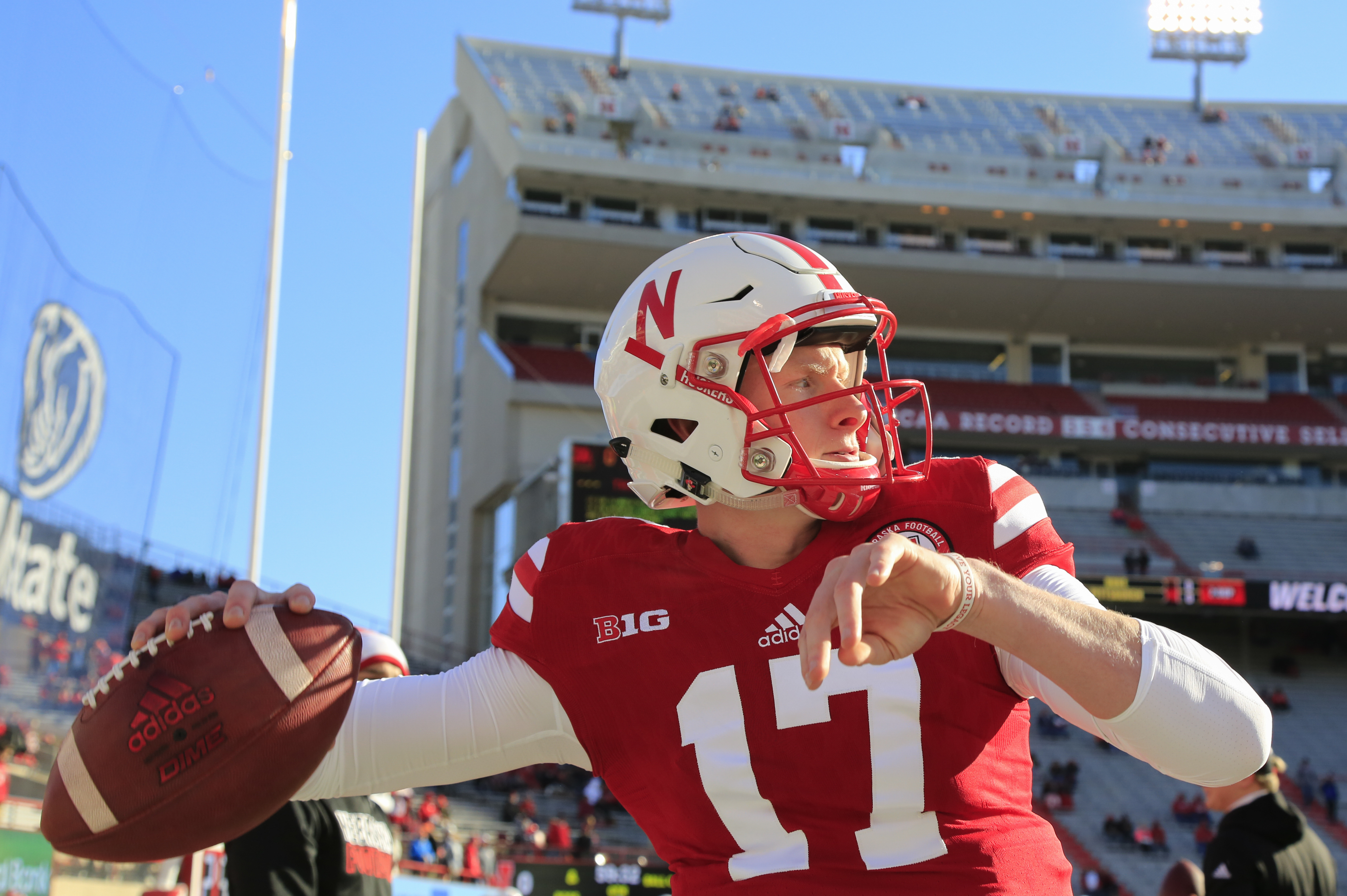 Nebraska quarterback Ryker Fyfe (17) throws before an NCAA college football game against Maryland in Lincoln, Neb., Saturday, Nov. 19, 2016. (AP Photo/Nati Harnik)