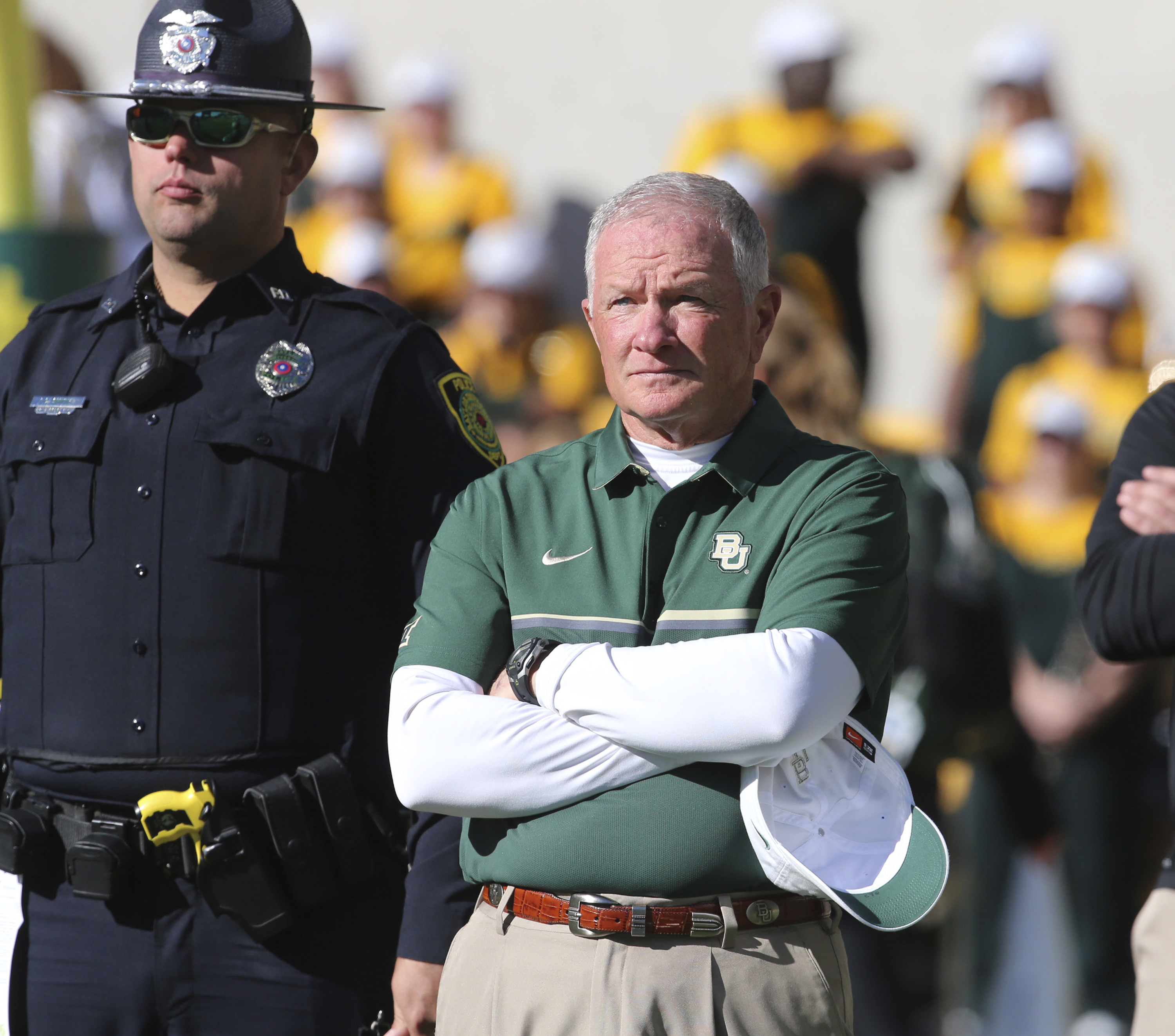 Baylor acting head coach Jim Grobe looks on following their NCAA college football game with Kansas State , Saturday, Nov. 19, 2016, in Waco, Texas. (Rod Aydelotte/Waco Tribune Herald via AP)
