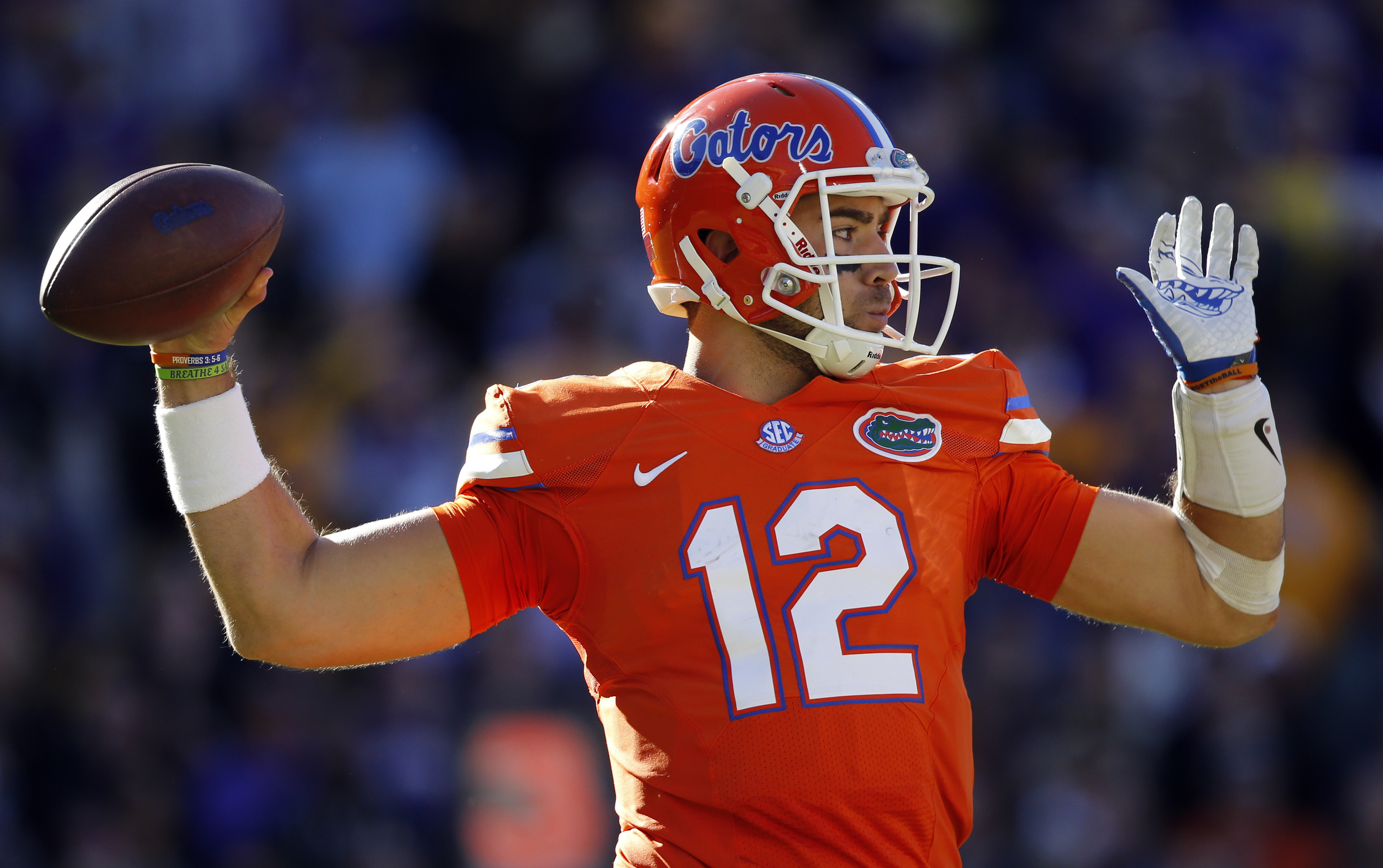 Florida quarterback Austin Appleby (12) throws a pas in the second half an NCAA college football game against LSU in Baton Rouge, La., Saturday, Nov. 19, 2016. Florida won 16-10. (AP Photo/Gerald Herbert)