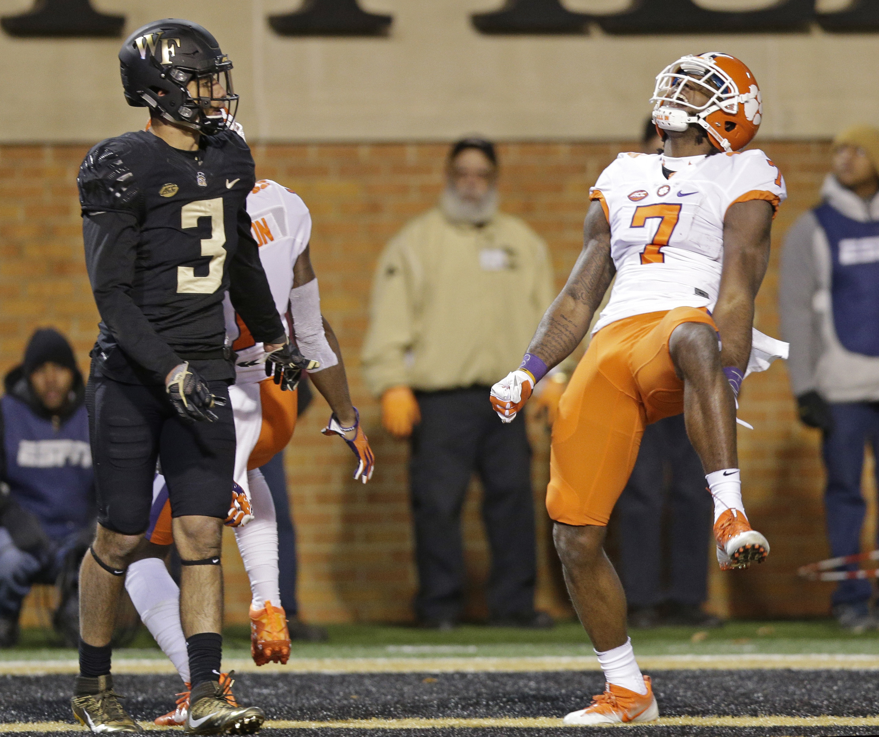 Clemson's Mike Williams (7) celebrates his touchdown as Wake Forest's Jessie Bates III (3) watches during the first half of an NCAA college football game in Winston-Salem, N.C., Saturday, Nov. 19, 2016. (AP Photo/Chuck Burton)