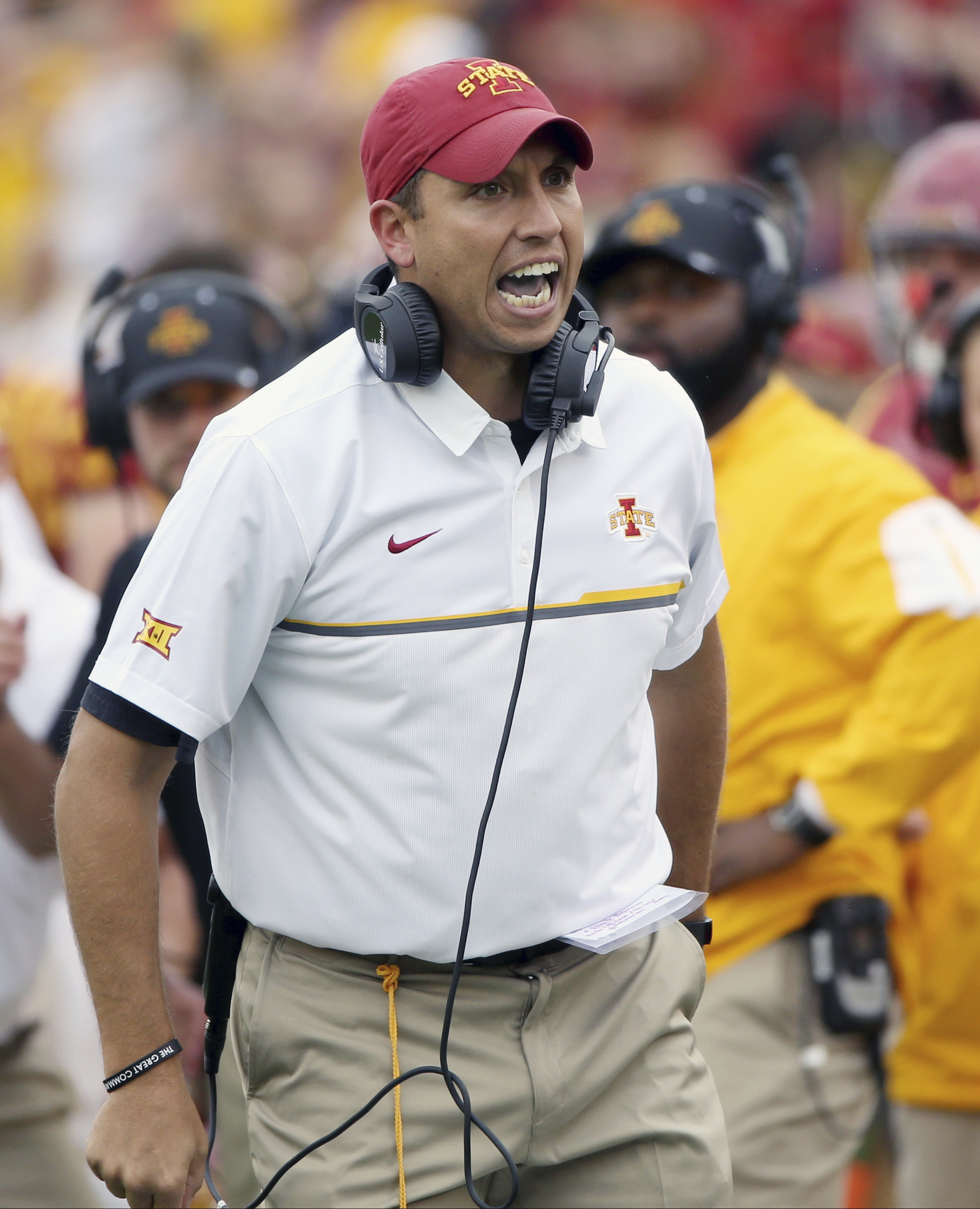 FILE - In this Oct. 1, 2016, file photo, Iowa State head coach Matt Campbell yells at an official after a call was overturned by replay during the first half of an NCAA college football game against Baylor, in Ames, Iowa. For the first time since November