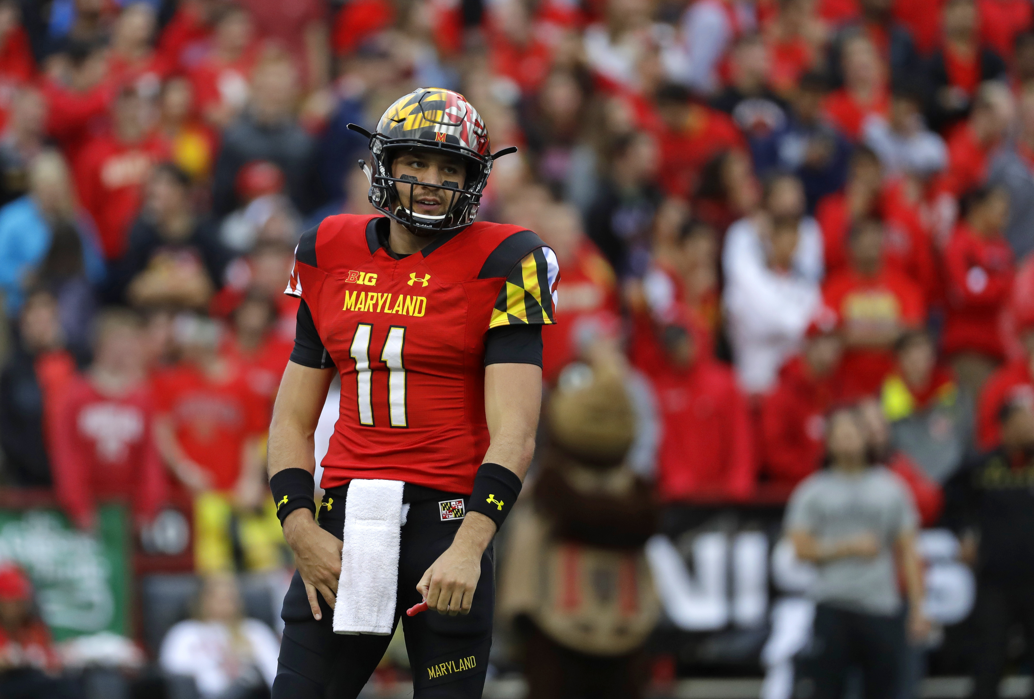 FILE - In this Oct. 1, 2016, file photo, Maryland quarterback Perry Hills walks on the field in the first half of an NCAA college football game against Purdue, in College Park, Md. Hills hopes his ailing left shoulder will heal enough to allow him to suit