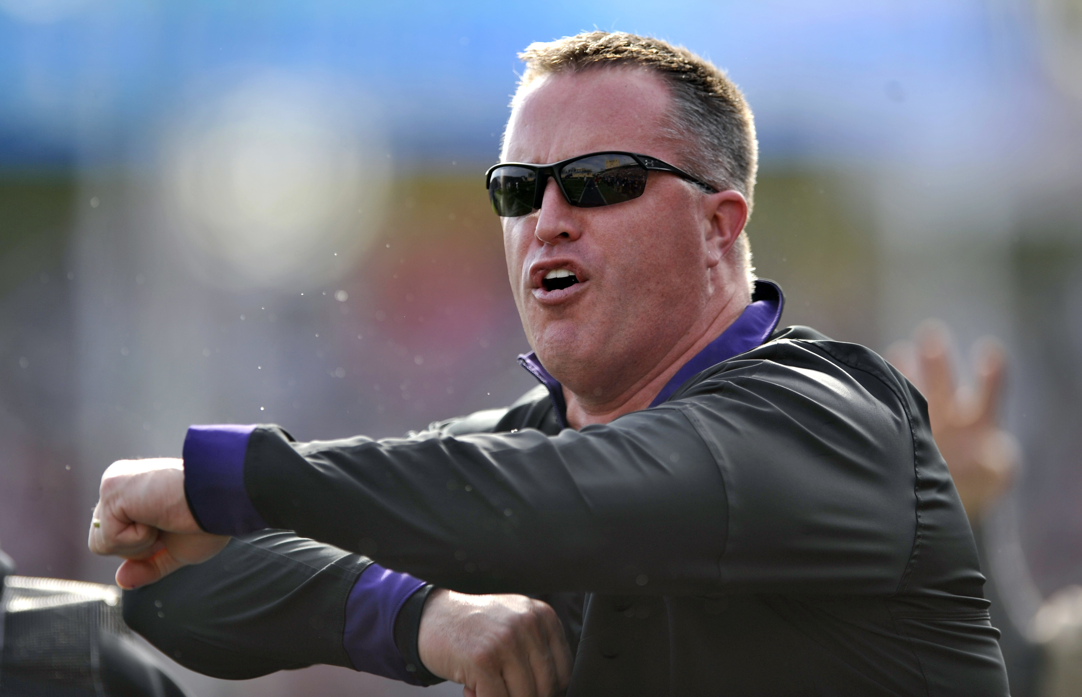 FILE - In this Saturday, Oct. 22, 2016, file photo, Northwestern head coach Pat Fitzgerald yells to his players during the second quarter of an NCAA college football game against Indiana in Evanston, Ill. Northwestern is looking to become bowl eligible wh