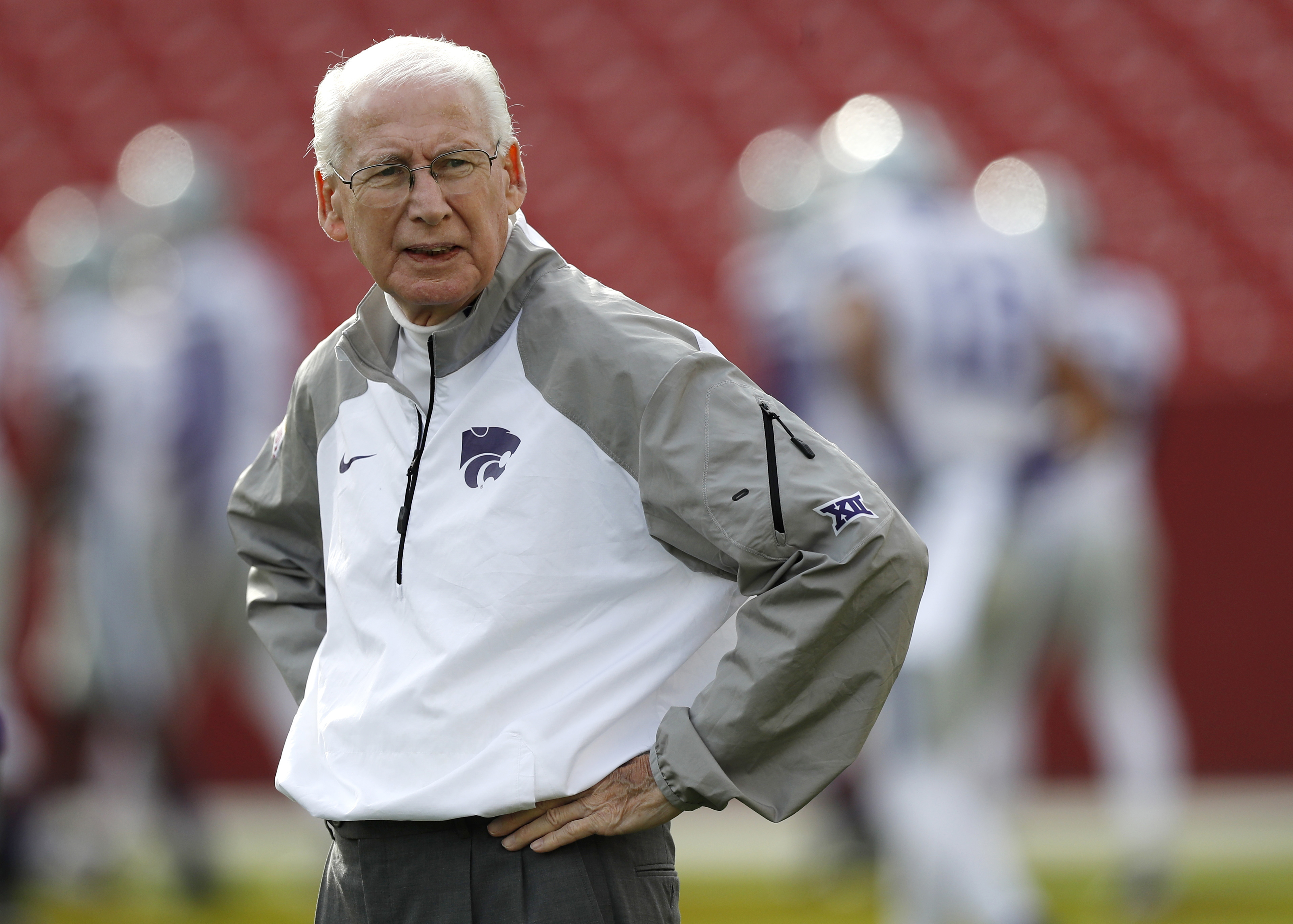FILE - In this Oct. 29, 2016, file photo, Kansas State coach Bill Snyder stands on the field before the team's NCAA college football game against Iowa State in Ames, Iowa. Snyder is going for his 200th victory as Kansas State coach when its host Kansas in