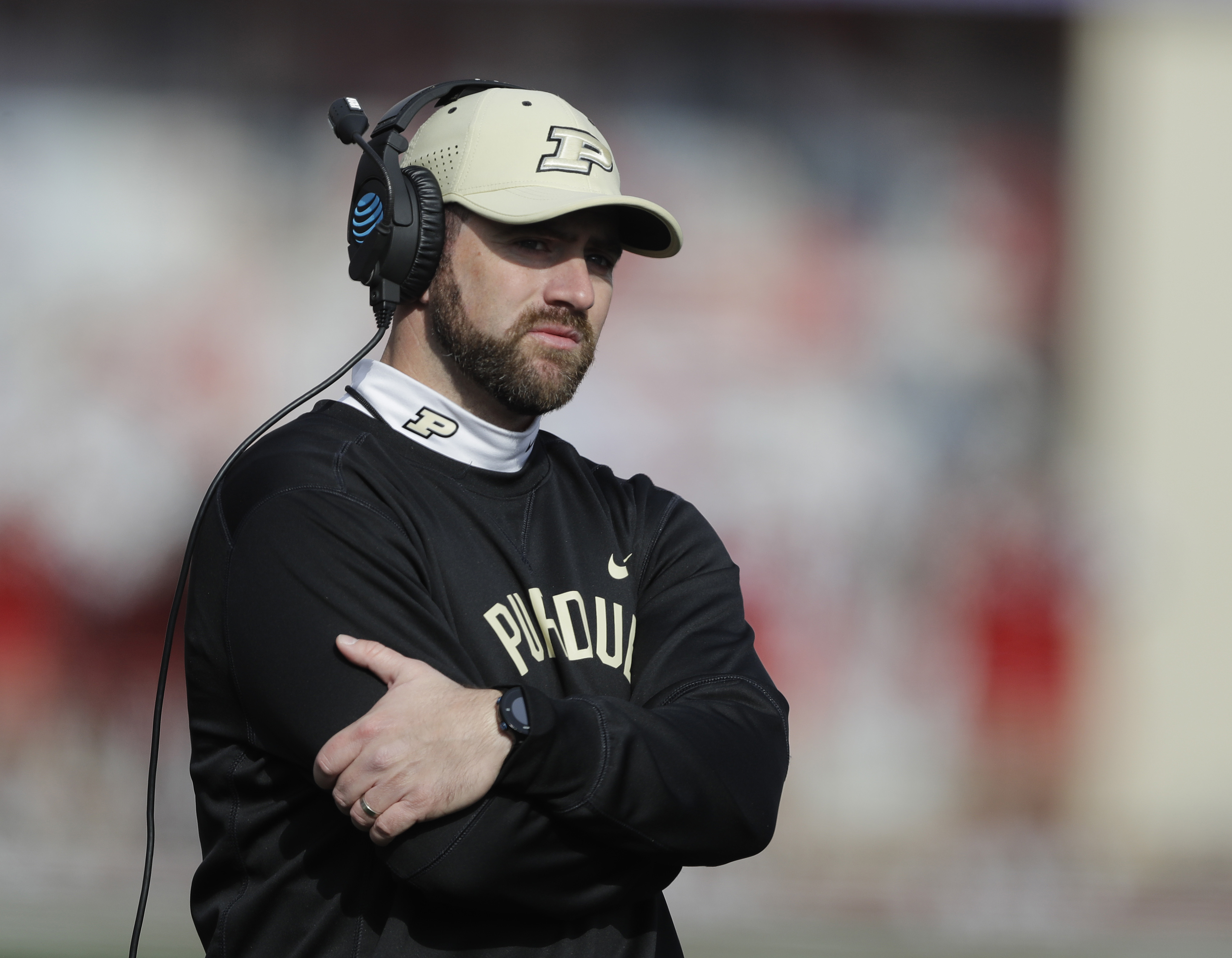 Purdue interim head coach Gerad Parker watches during the first half of an NCAA college football game against Indiana, Saturday, Nov. 26, 2016, in Bloomington, Ind. (AP Photo/Darron Cummings)