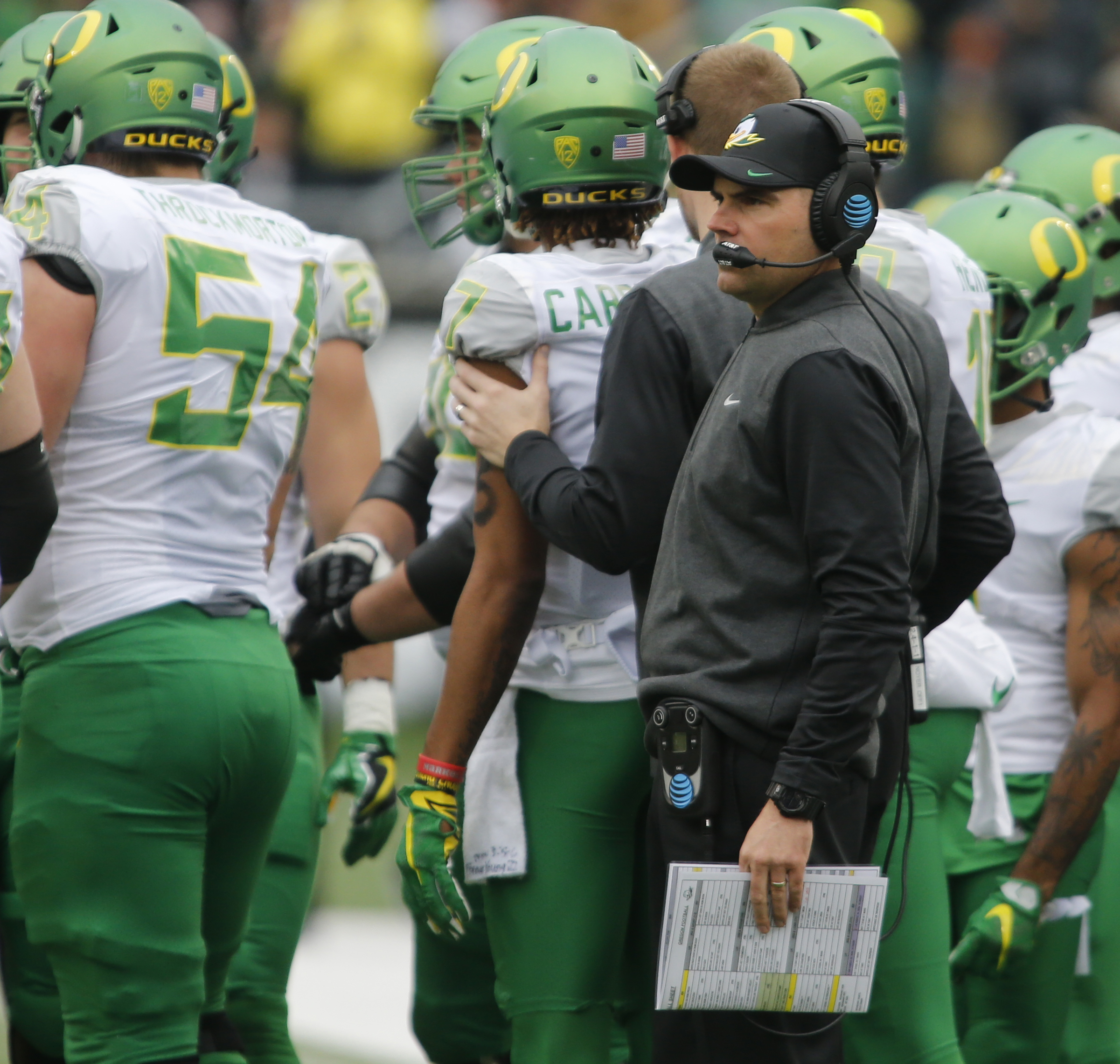 Oregon head coach Mark Helfrich looks on in the first half an NCAA college football game against Oregon State, in Corvallis, Ore., Saturday Nov. 26, 2016. (AP Photo/Timothy J. Gonzalez)