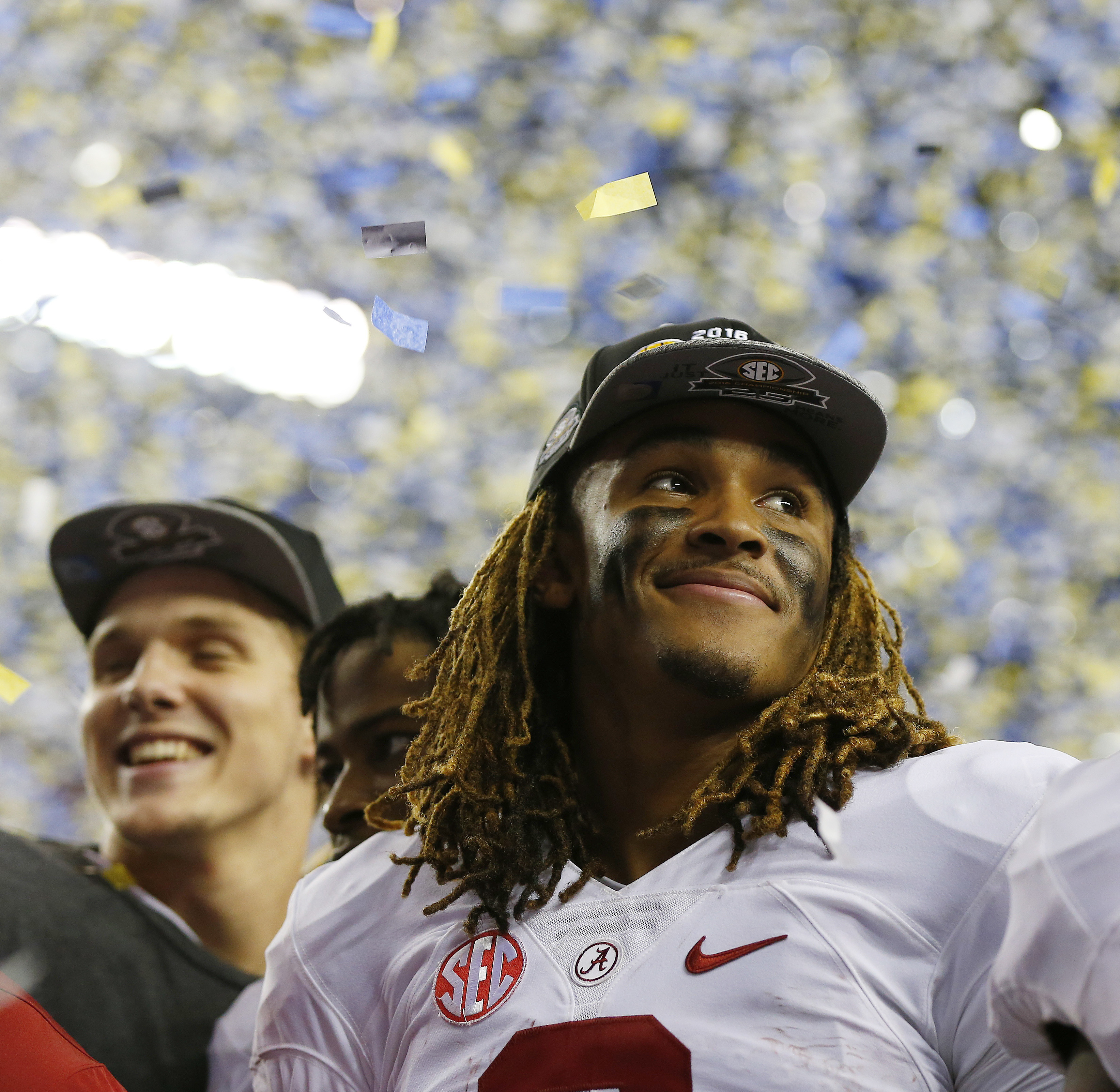 Alabama quarterback Jalen Hurts (2) celebrates after the Southeastern Conference championship NCAA college football game against Florida, Saturday, Dec. 3, 2016, in Atlanta. Alabama won 54-16. (AP Photo/Butch Dill)