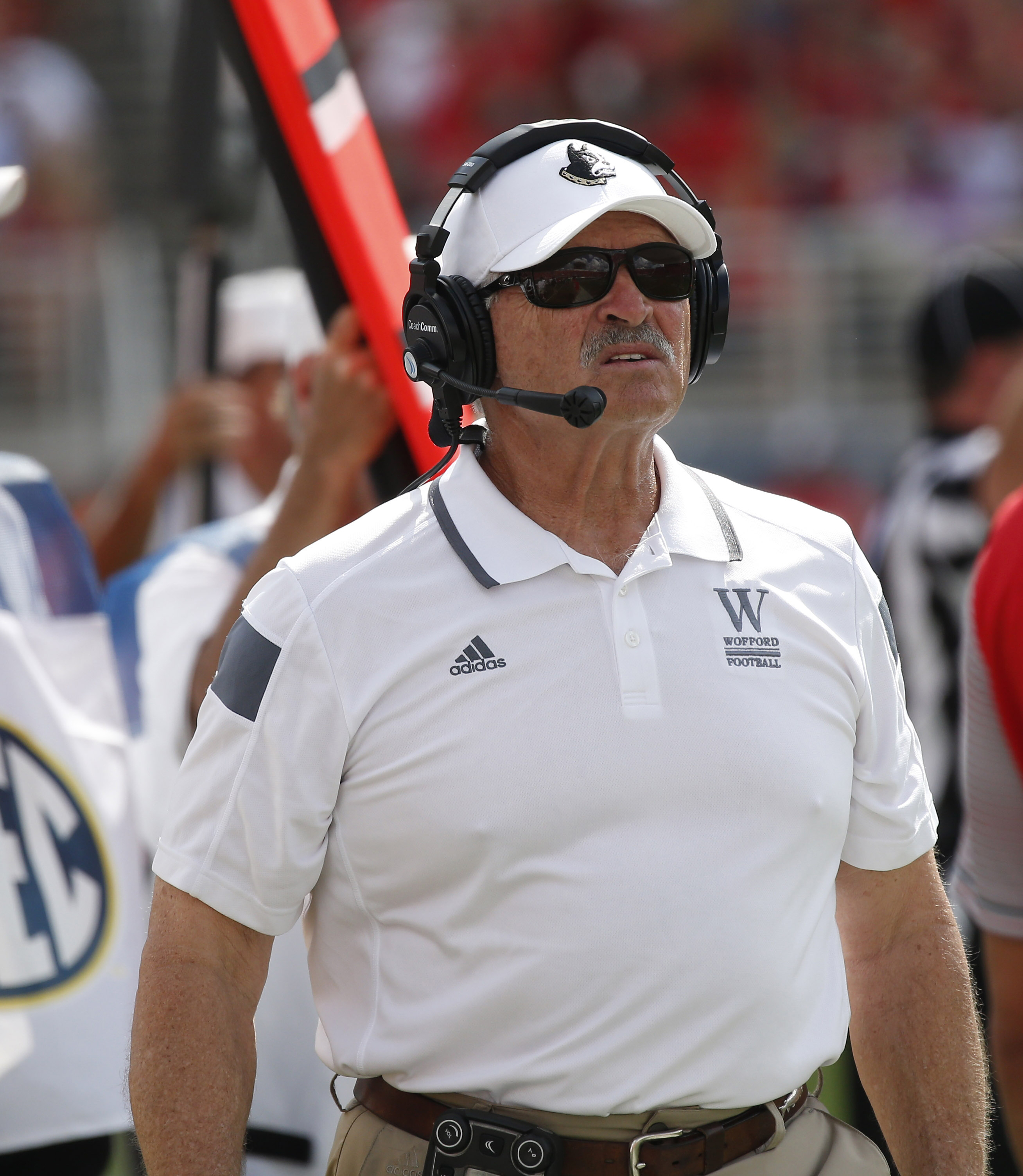FILE - In this Sept. 10, 2016, file photo, Wofford head coach Mike Ayers looks up at the score board in the second half of an NCAA college football game against Mississippi in Oxford, Miss. Sometimes Wofford coach Mike Ayers cant fathom what his team has