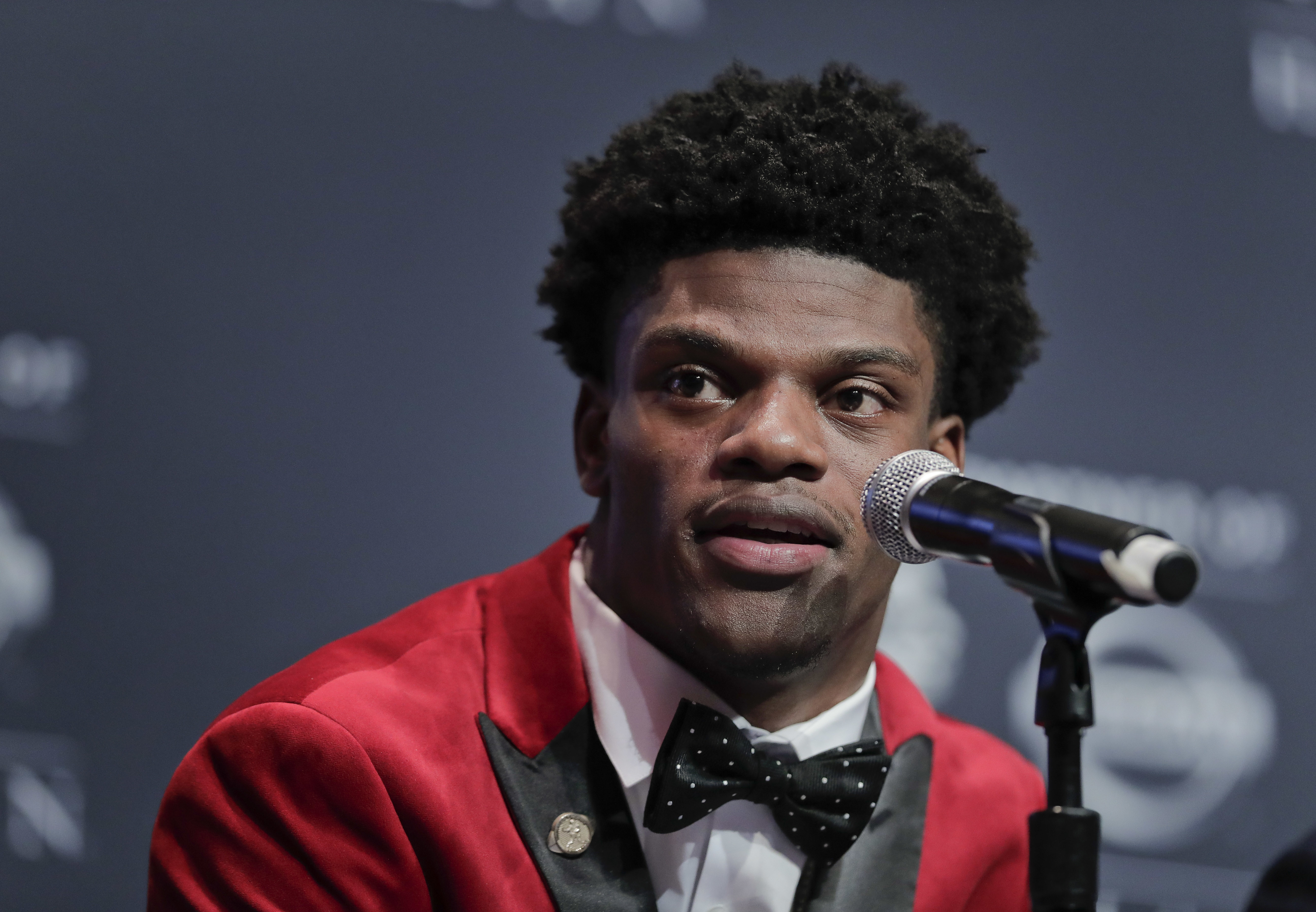 Louisville's Lamar Jackson answers questions during a news conference before the Heisman Trophy award ceremony Saturday, Dec. 10, 2016, in New York. (AP Photo/Julie Jacobson)