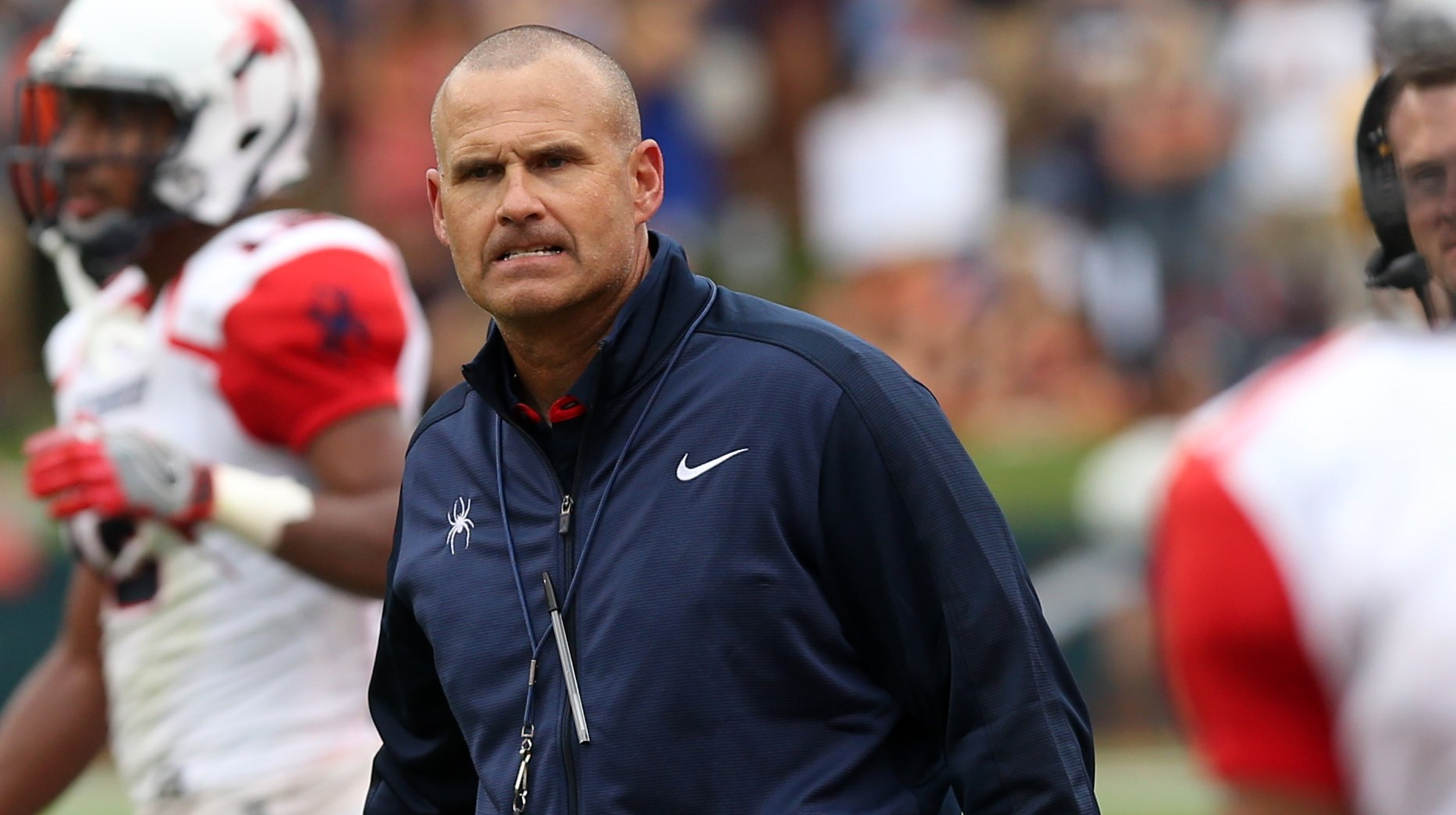Richmond head coach Danny Rocco reacts to a call during the first half of an NCAA football game against Virginia Saturday Sept. 3, 2016, in Charlottesville, Va. (AP Photo/Andrew Shurtleff)