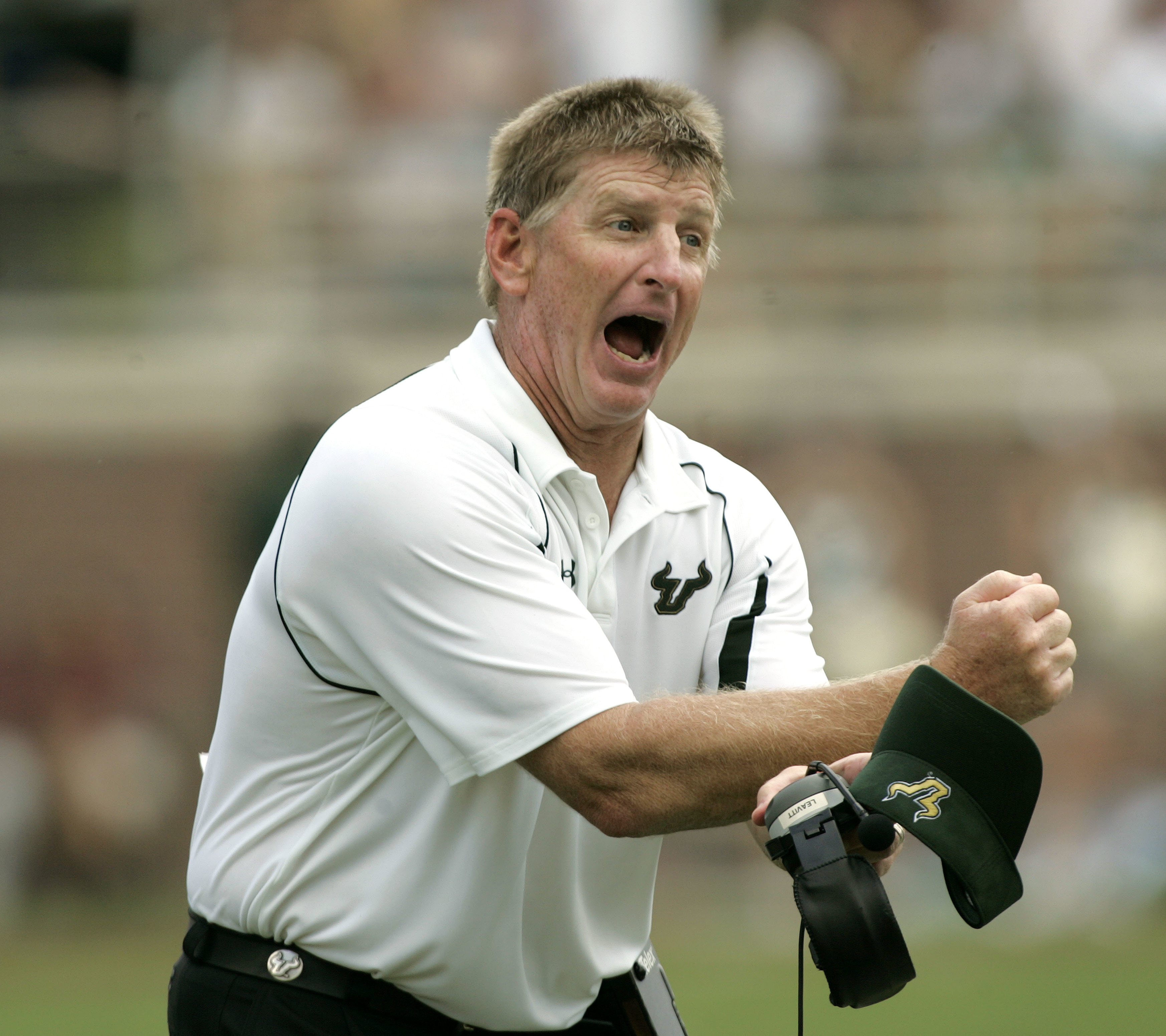 FILE - This Sept. 26, 2009, file photo shows University of South Florida head coach Jim Leavitt arguing an officials call during an NCAA college football game against Florida State, in Tallahassee, Fla. Leavitt is joining new head coach Willie Taggarts st