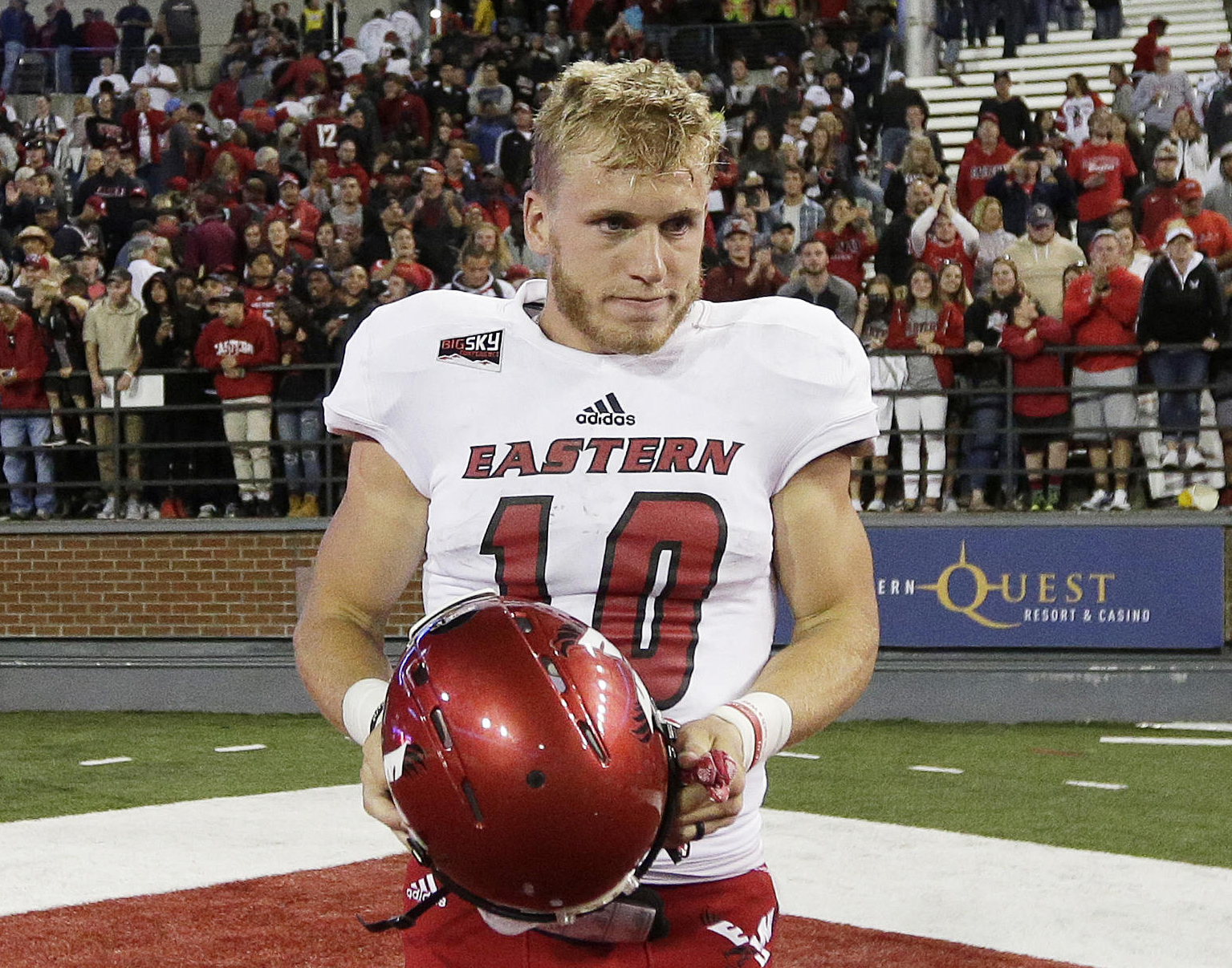 FILE - In this Sept. 3, 2016, file photo, Eastern Washington wide receiver Cooper Kupp (10) walks off the field after Eastern Washington won an NCAA college football game against the Washington State, in Pullman, Wash. Kupp has been selected to The Associ
