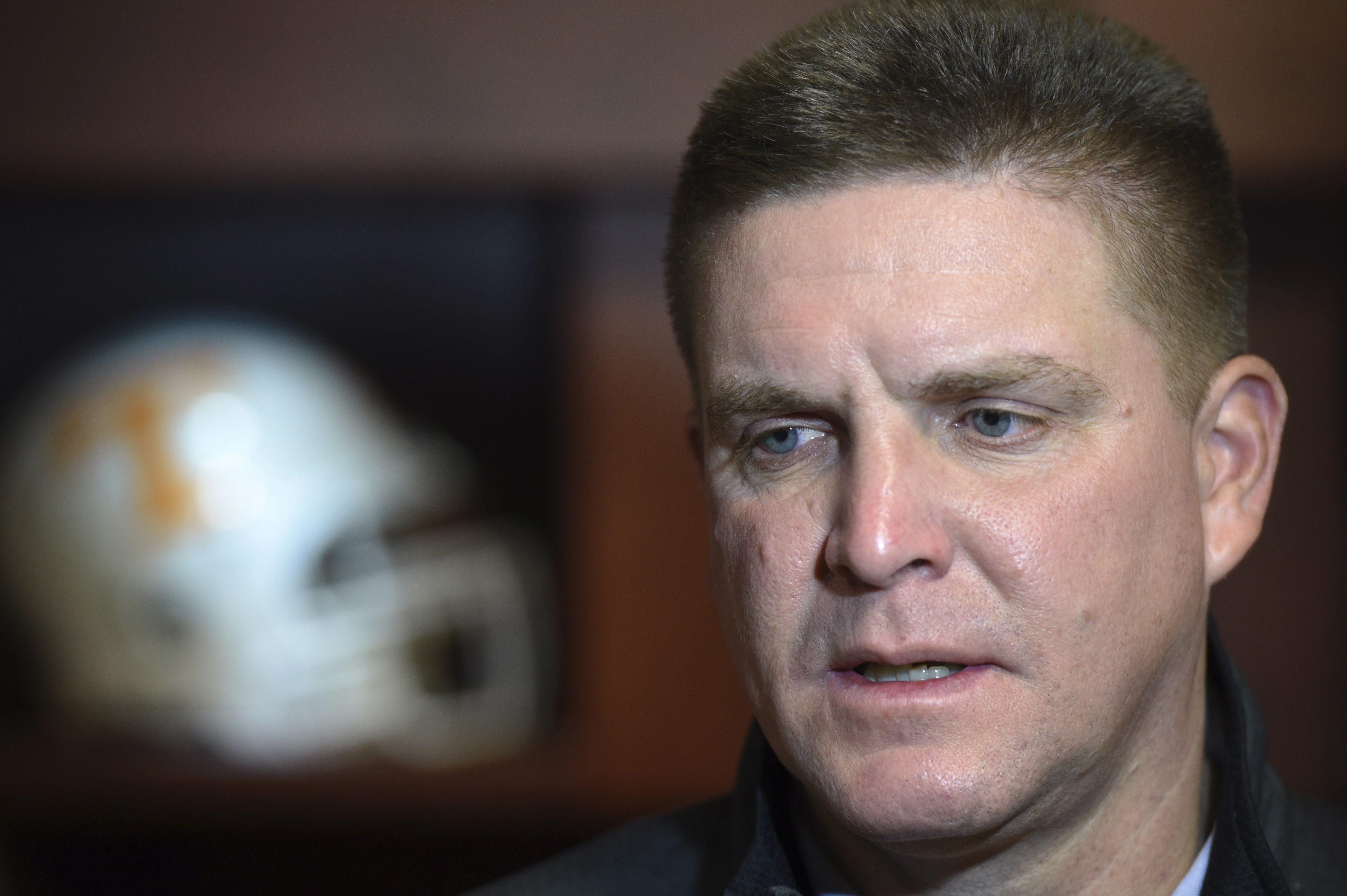 FILE - In this Jan. 12, 2016, file photo, Tennessee's defensive coordinator, Bob Shoop, answers questions during a news conference in Knoxville, Tenn. Tennessee (8-4) hopes the end of the regular season helps the defense recharge heading into the Dec. 30