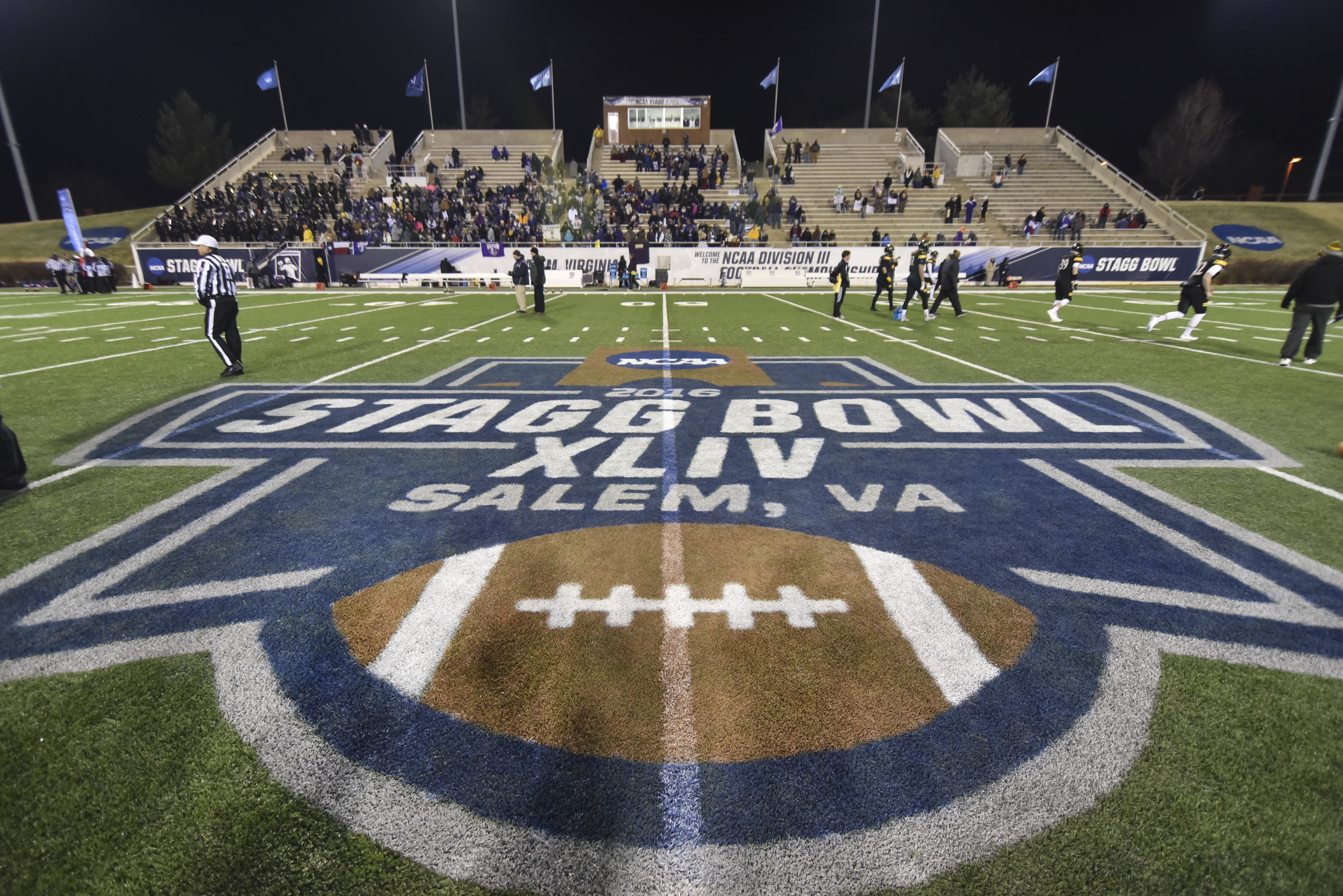 The 50-yard line is viewed prior to the NCAA Division III football championship game between Mary Hardin-Baylor and Wisconsin-Oshkosh at Salem Stadium in Salem, Va., Friday, Dec. 16, 2016. (AP Photo/Michael Shroyer)