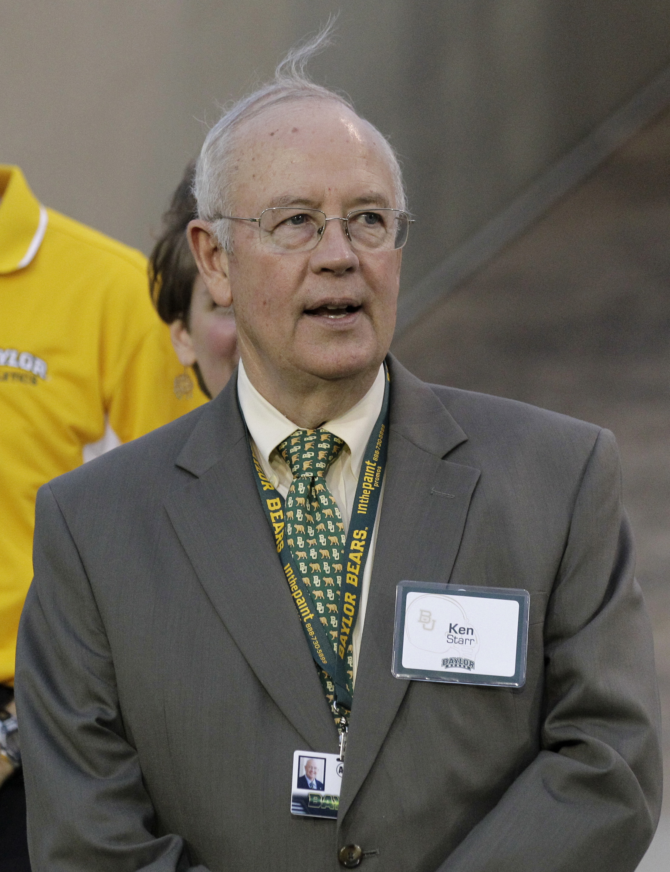 Baylor University President Kenneth Starr during an NCAA college football game against Stephen F. Austin, Saturday, Sept. 17, 2011, in Waco, Texas. Baylor won 48-0. (AP Photo/Tony Gutierrez)
