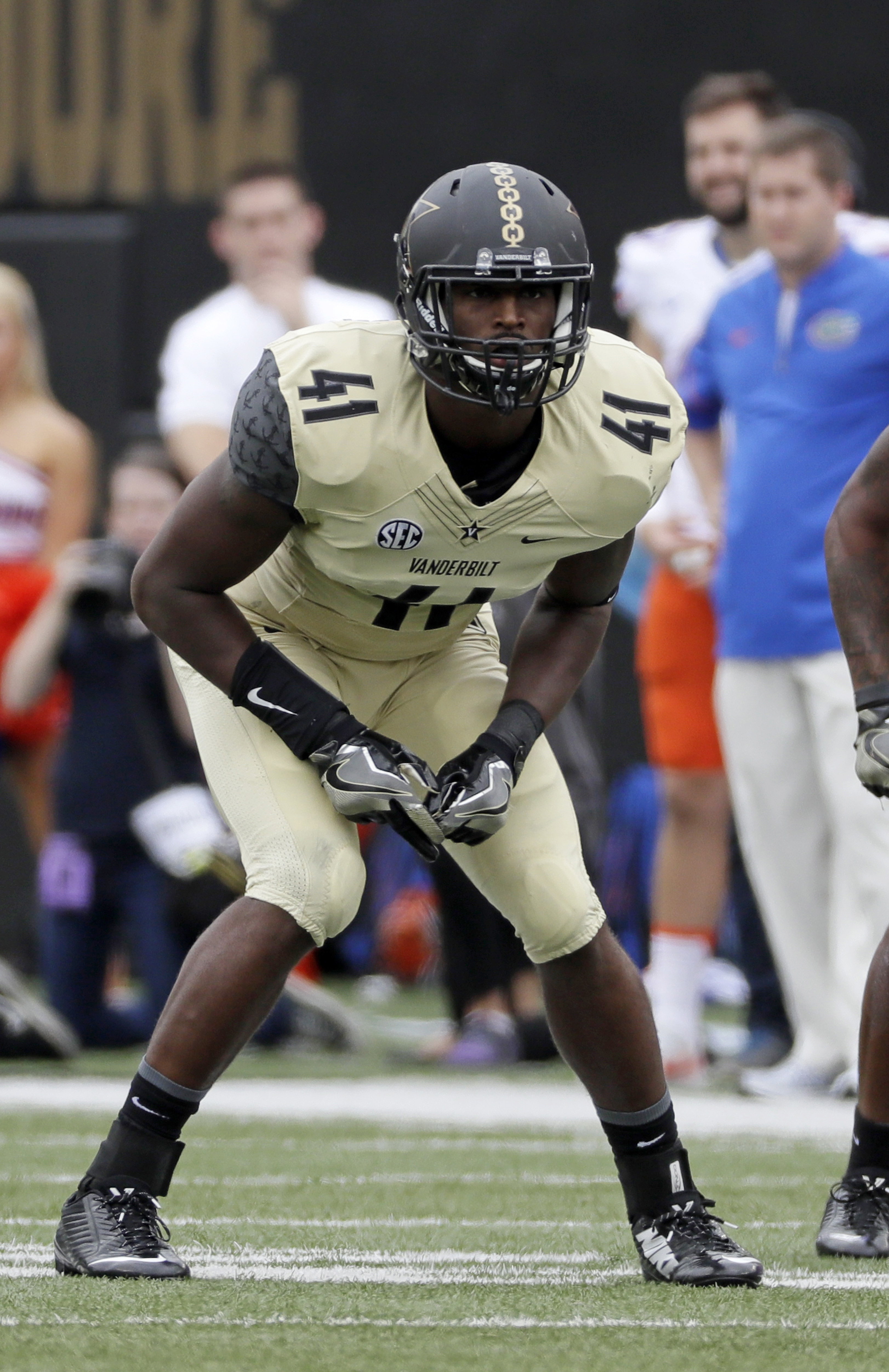 FILE - In this Oct. 1, 2016, file photo, Vanderbilt linebacker Zach Cunningham plays against Florida during an NCAA college football game in Nashville, Tenn. Cunningham has been among the nations most productive defensive players and earned first-team AP